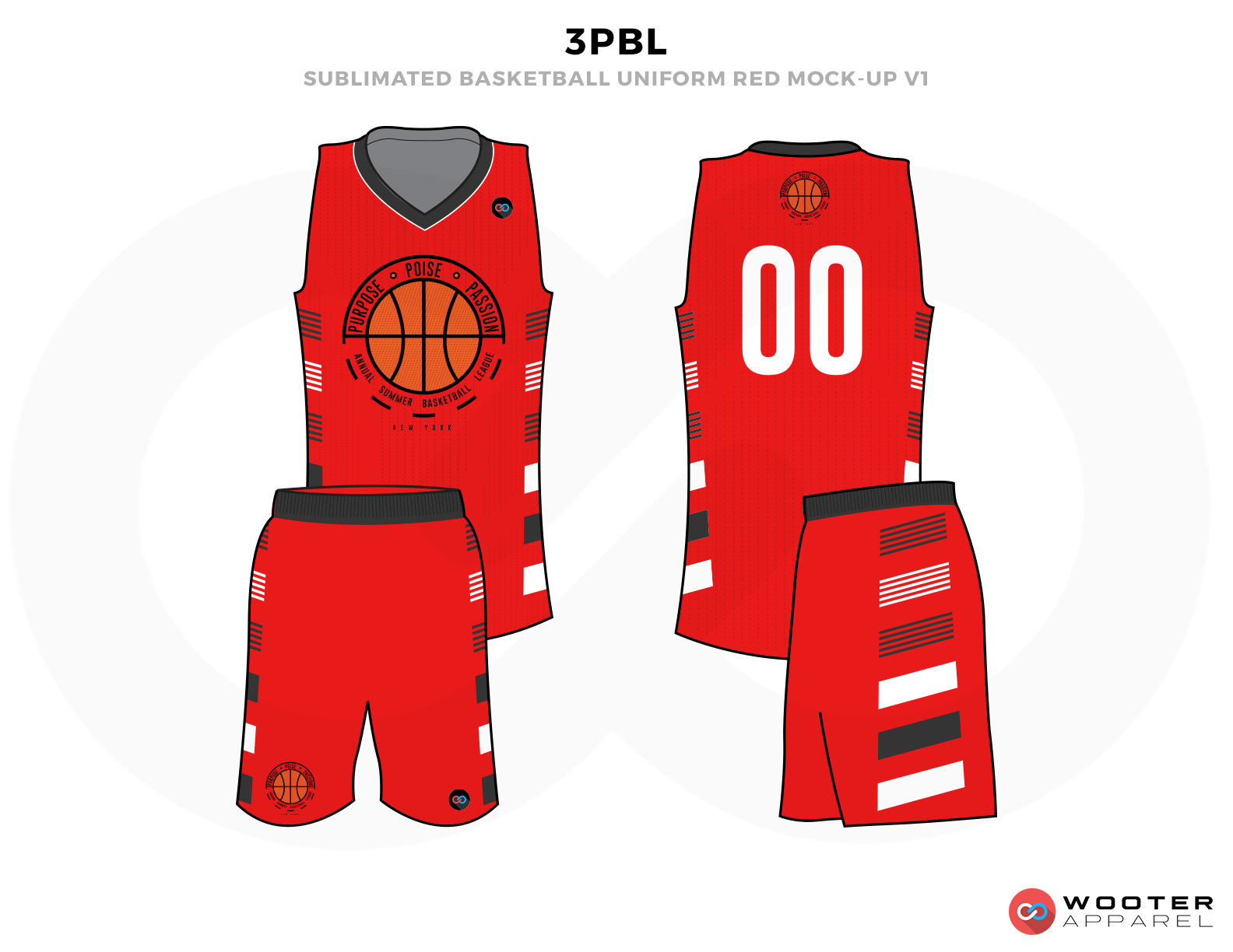 3PBL Red White Green Grey and Orange Basketball Uniforms, Jersey and Shorts