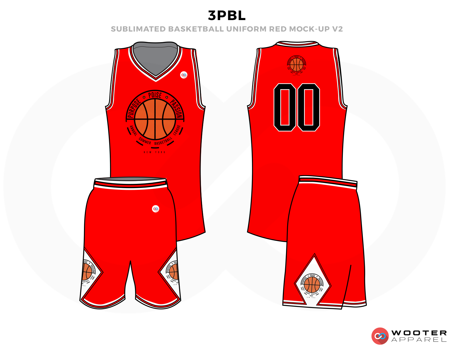 3PBL Red White Green and Orange Basketball Uniforms, Jersey and Shorts