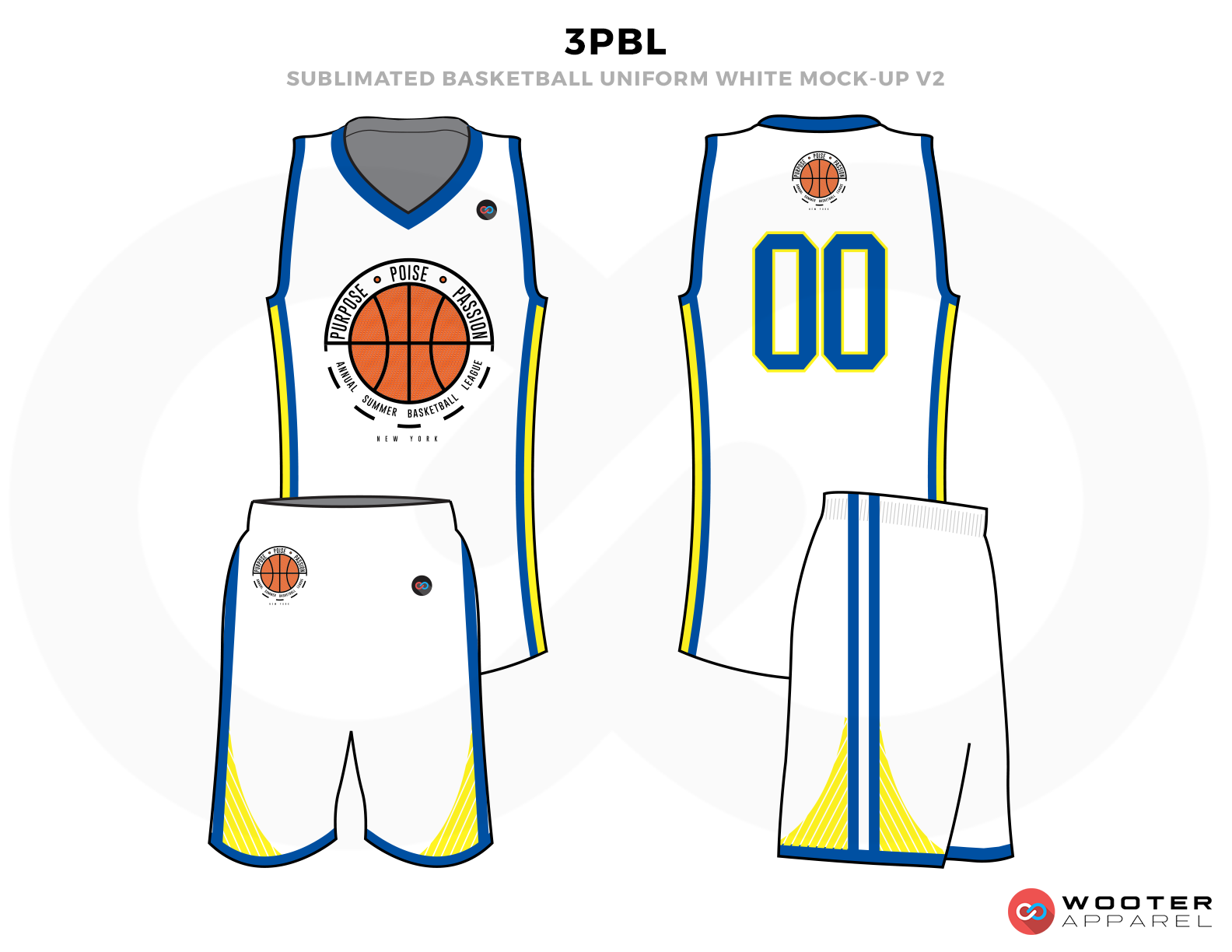 3PBL White Blue Yellow and Orange Basketball Uniforms, Jersey and Shorts