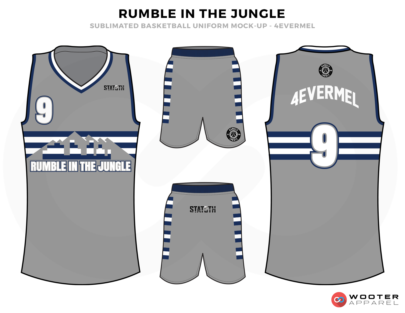 RUMBLE IN THE JUNGLE Grey Blue and White Basketball Uniforms, Jersey and Shorts