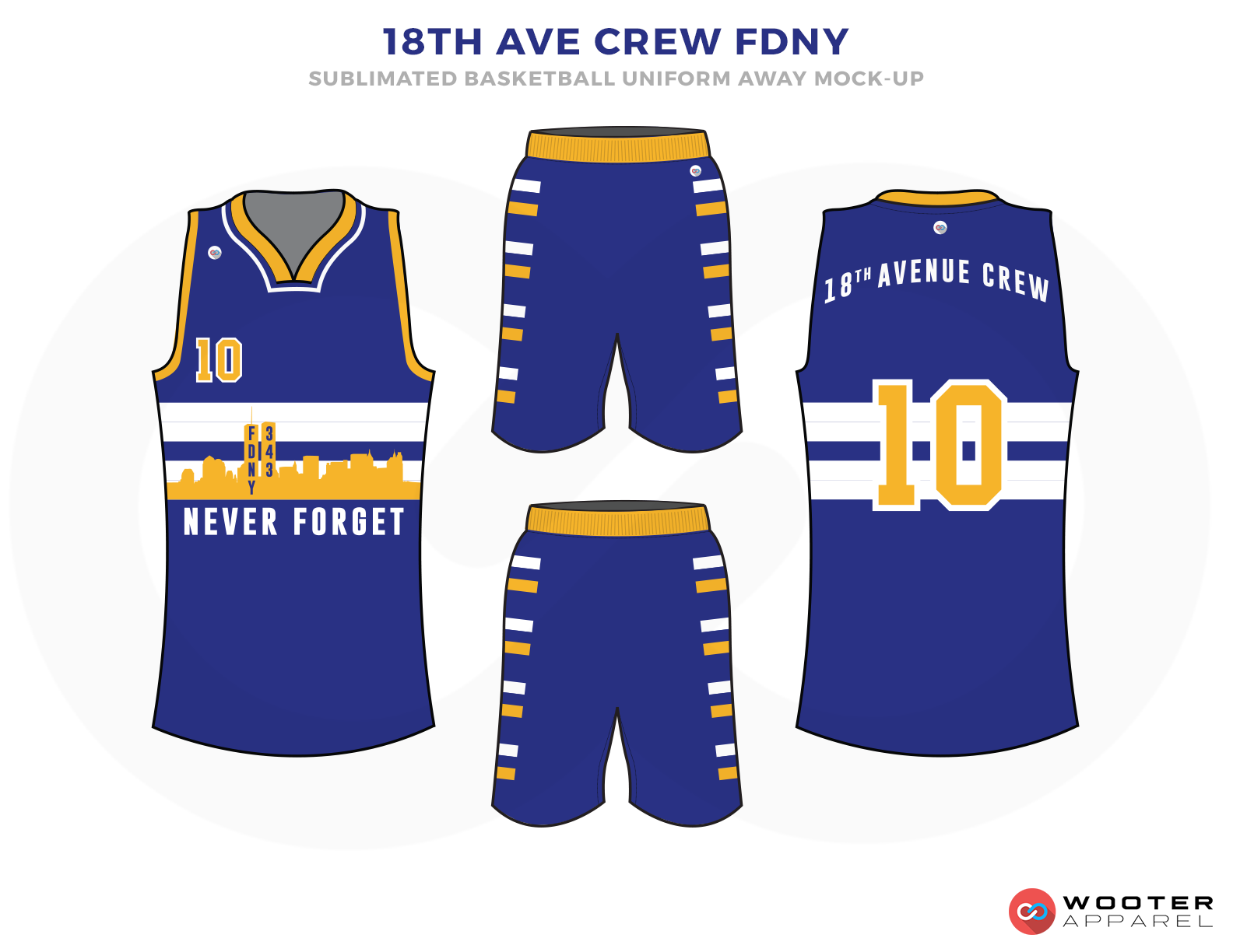 18th AVE CREW FDNY Blue White and Yellow Basketball Uniforms, Jersey and Shorts