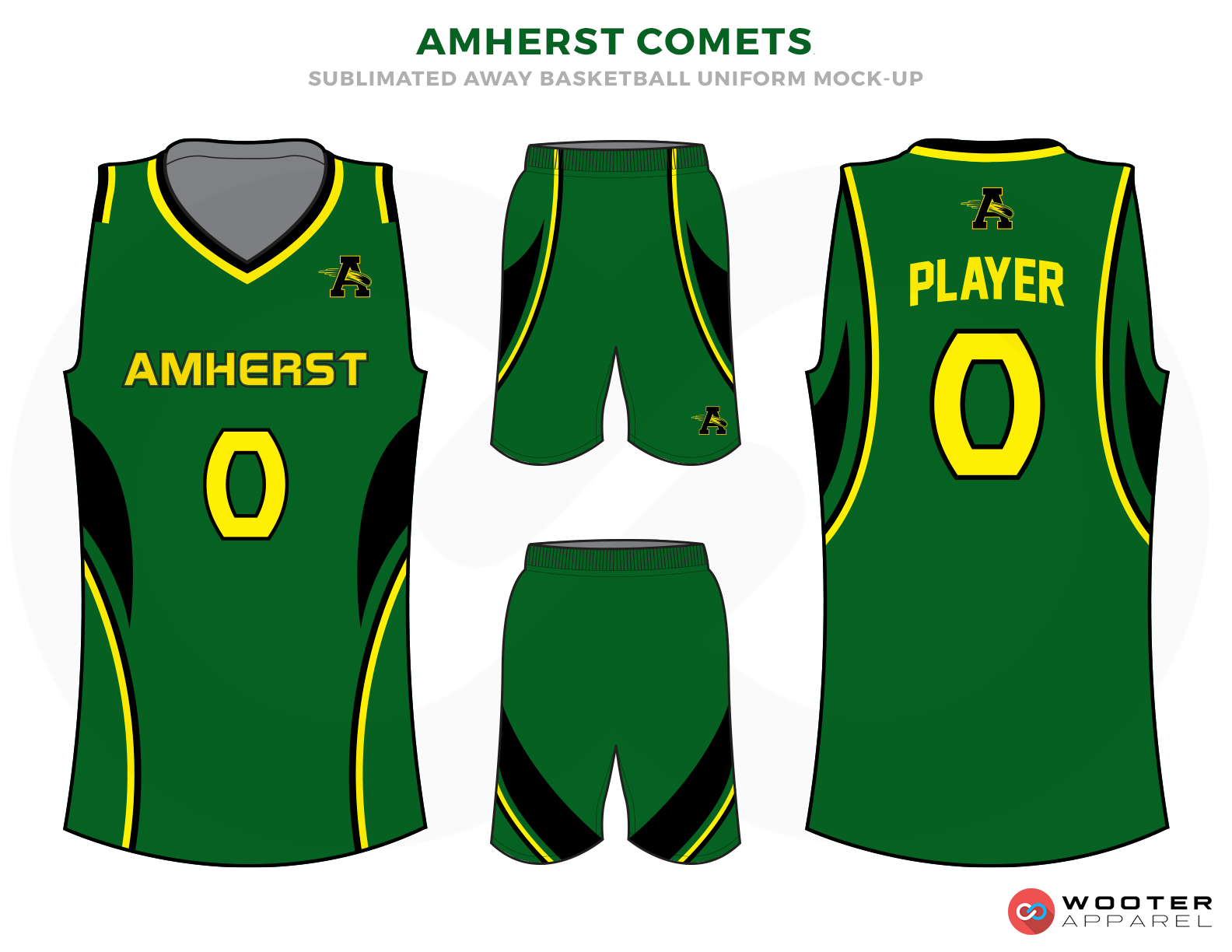 AMHERST COMETS Green Yellow and Black Basketball Uniforms, Jersey and Shorts