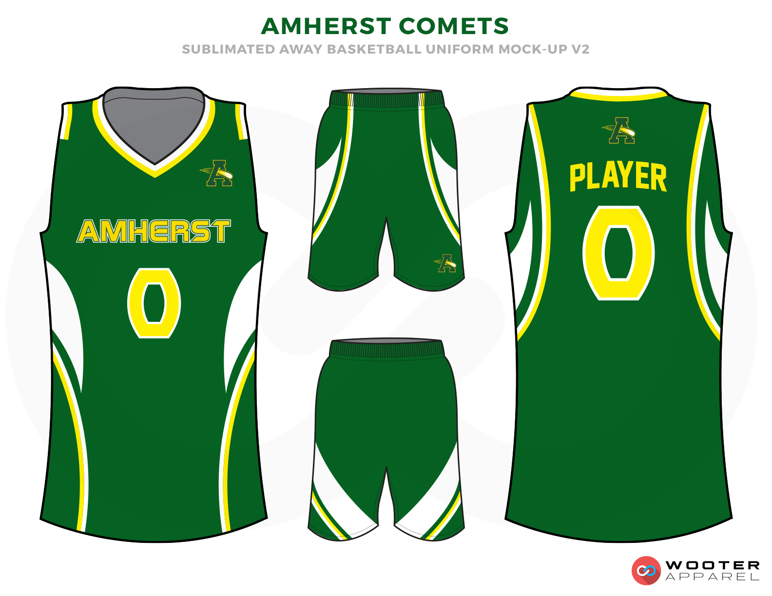 AMHERST COMETS Green Yellow and White Basketball Uniforms, Jersey and Shorts