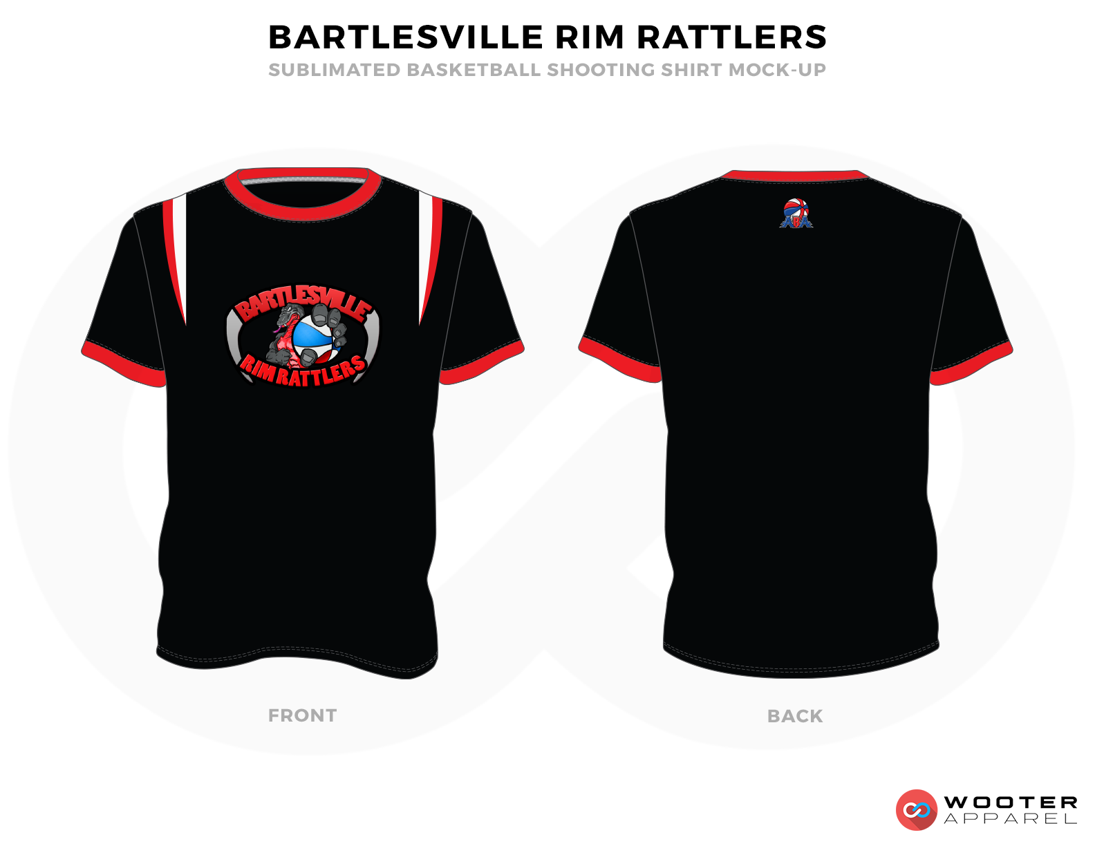 BARTLESVILLE RIM RATTLERS Black Red and White Basketball Uniforms, Jersey