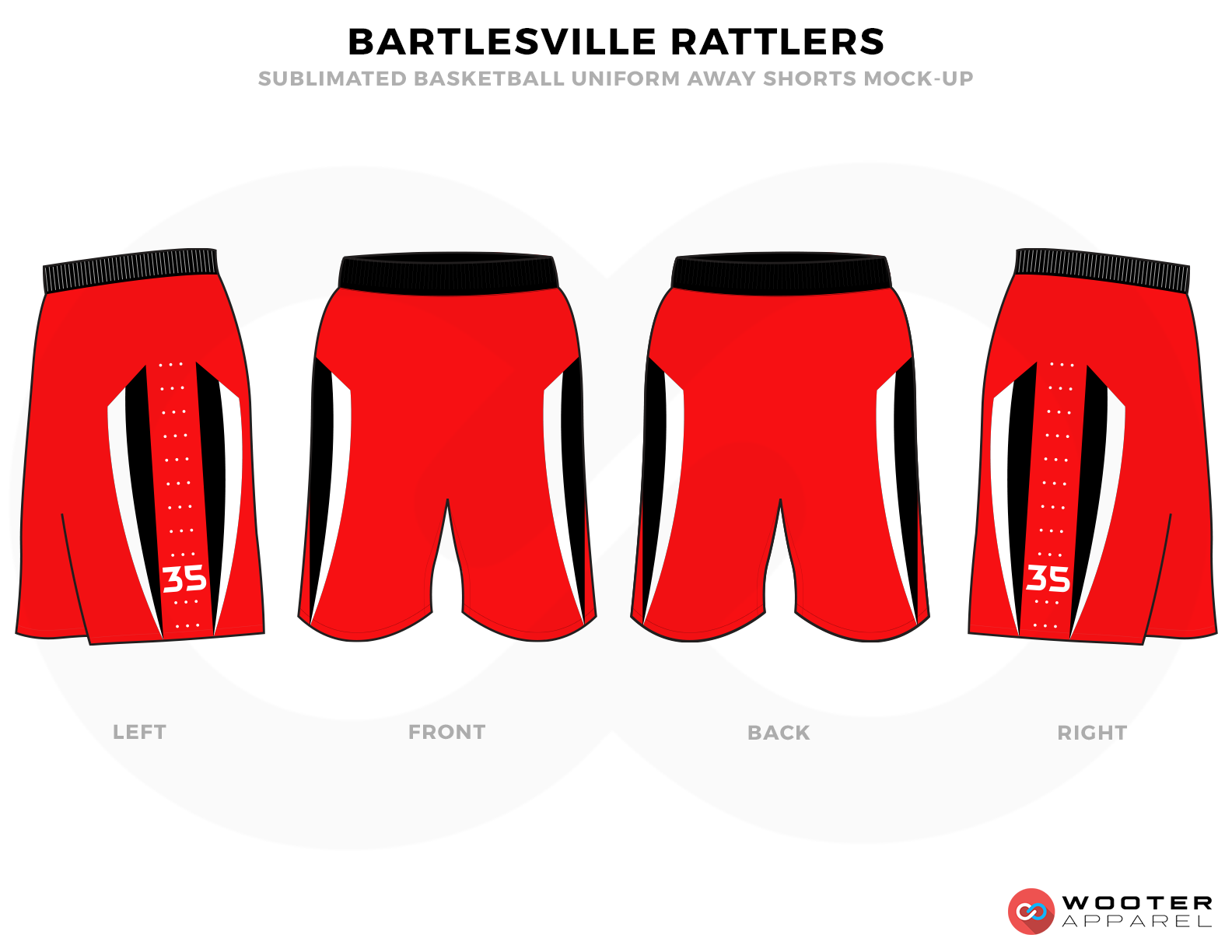 BARTLESVILLE RATTLERS Red Black and White Basketball Uniforms, Shorts