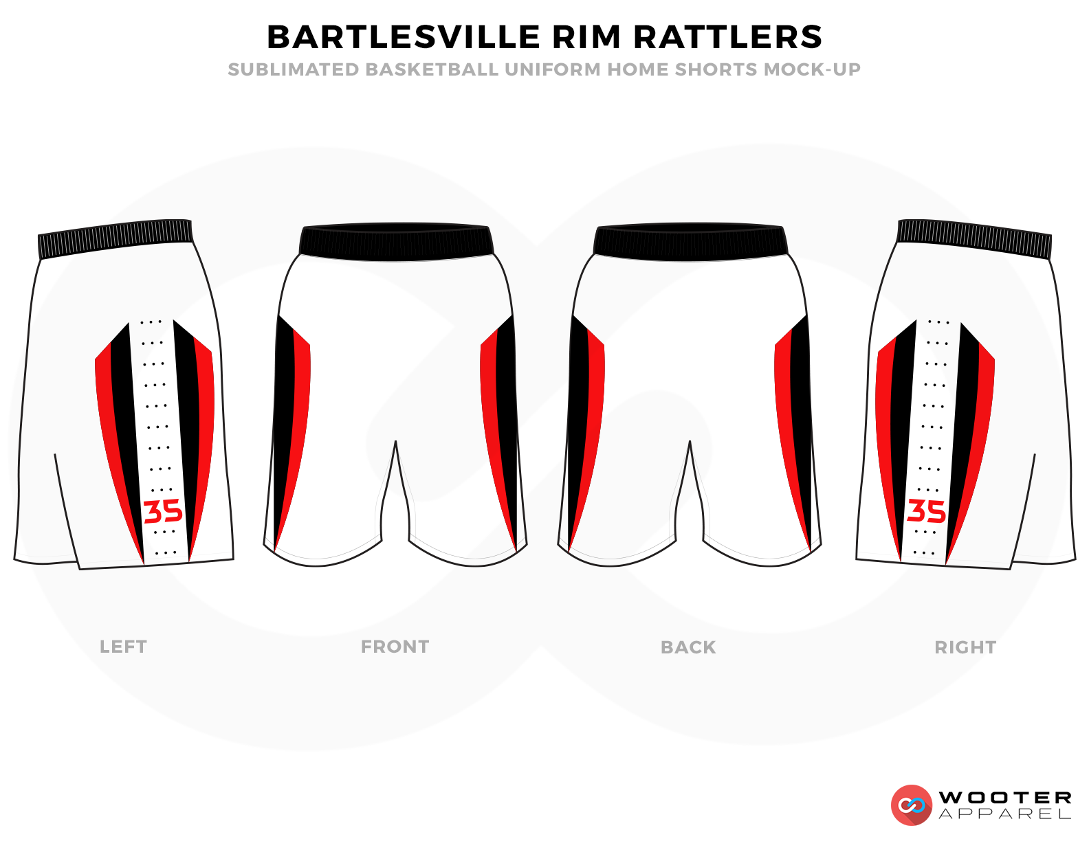 BARTLESVILLE RIM RATTLERS White Red and Black Basketball Uniforms, Shorts