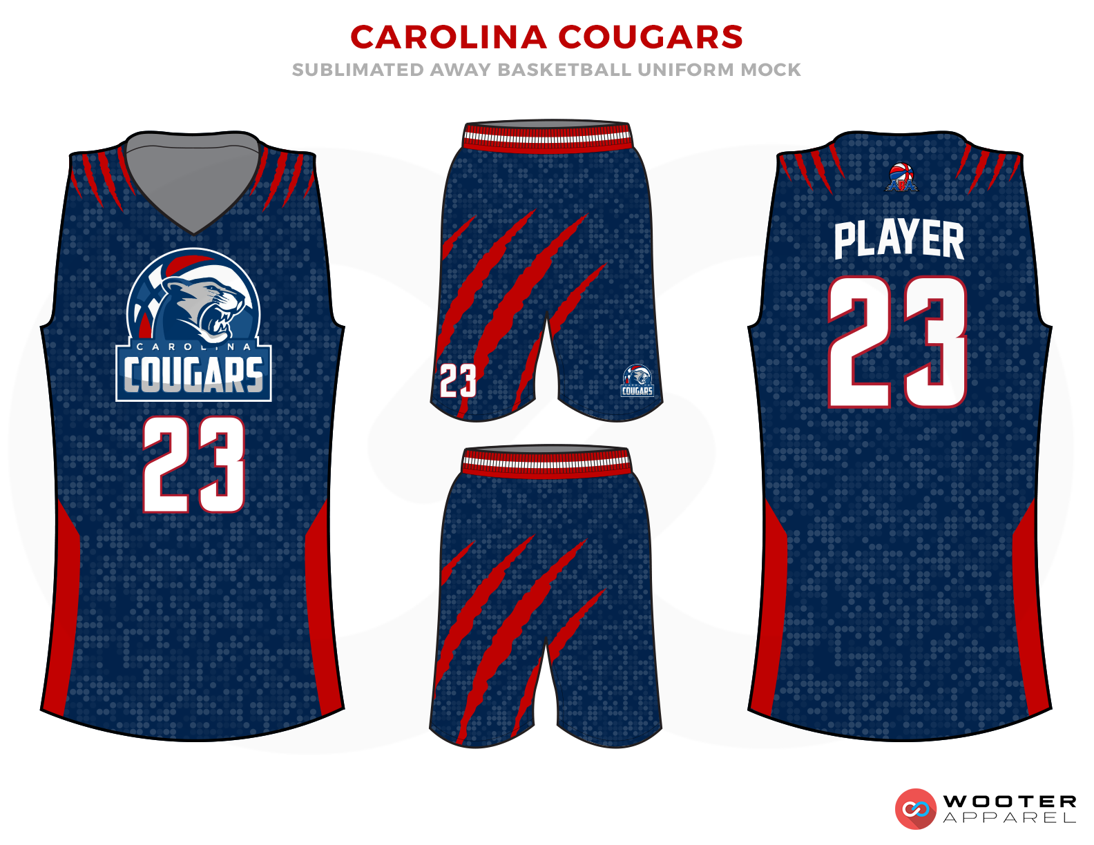 CAROLINA COUGARS Blue Red and White Basketball Uniforms, Jersey and Shorts