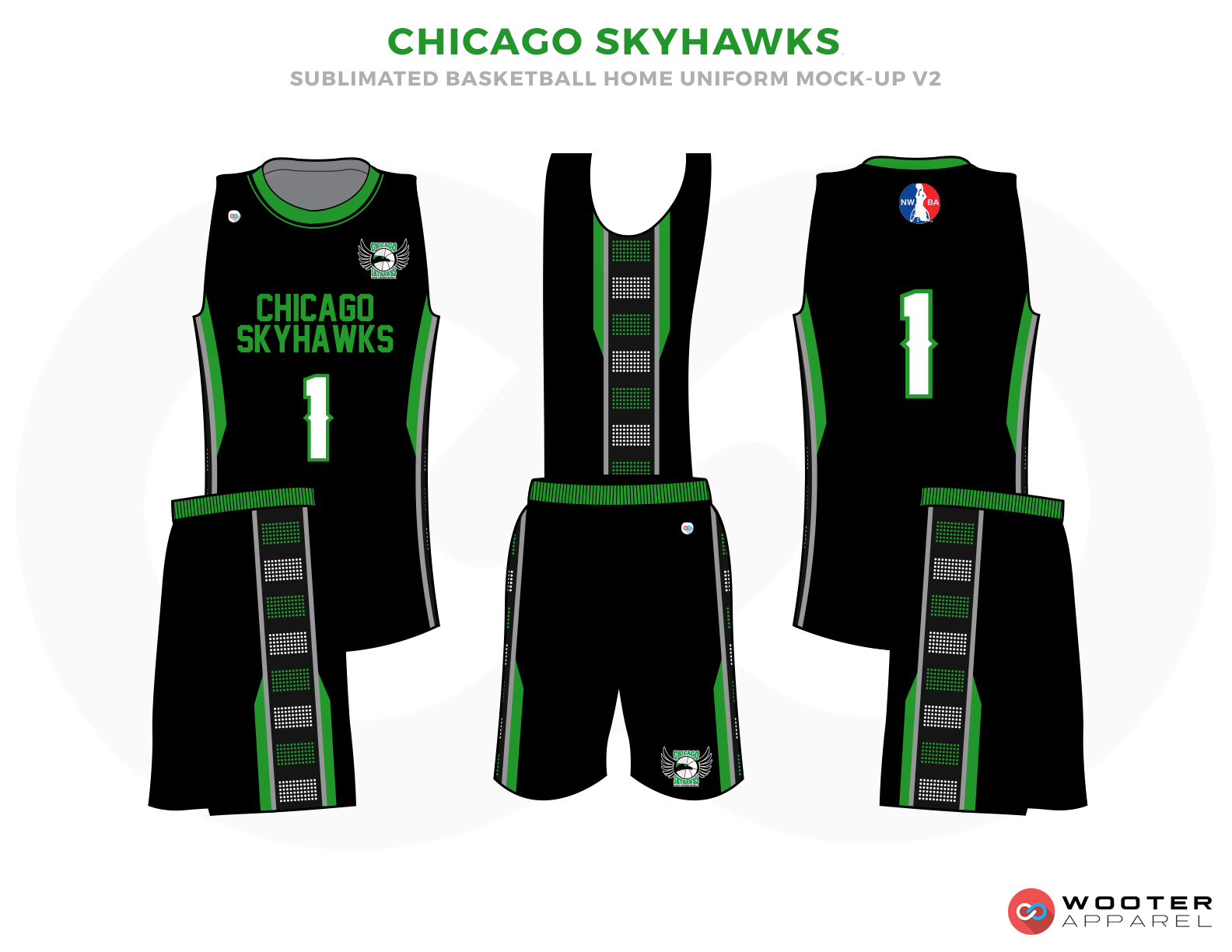 CHICAGO SKYHAWKS Black Green Grey and White Basketball Uniforms, Jersey and Shorts