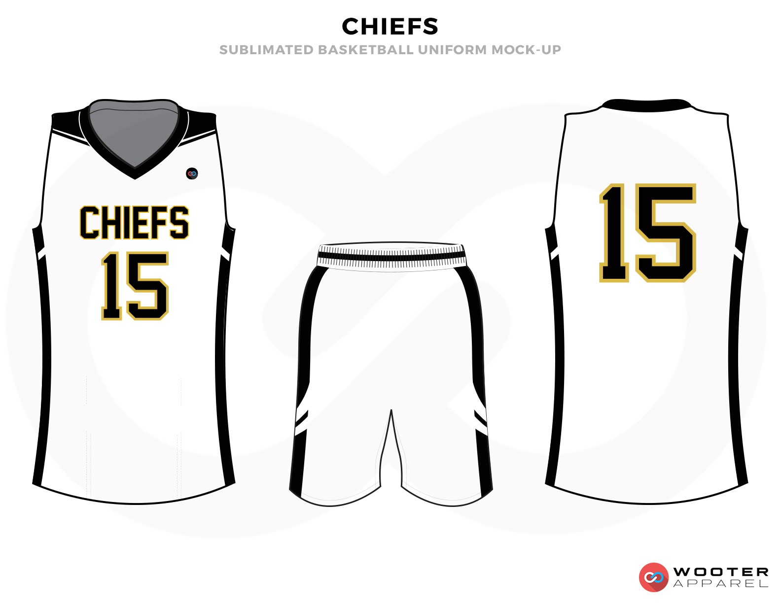 CHIEFS White Black and Yellow Basketball Uniforms, Jersey and Shorts