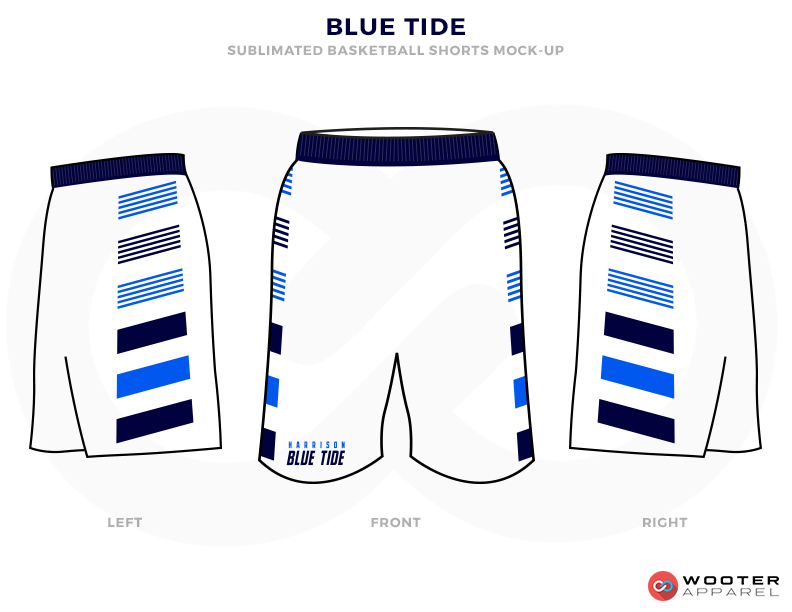 BlUE TIDE White and Blue Basketball Uniforms, Shorts