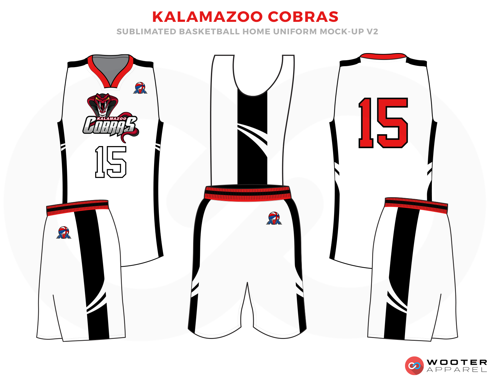 KALAMAZOO COBRAS White Red and Black Basketball Uniforms, Jersey and Shorts