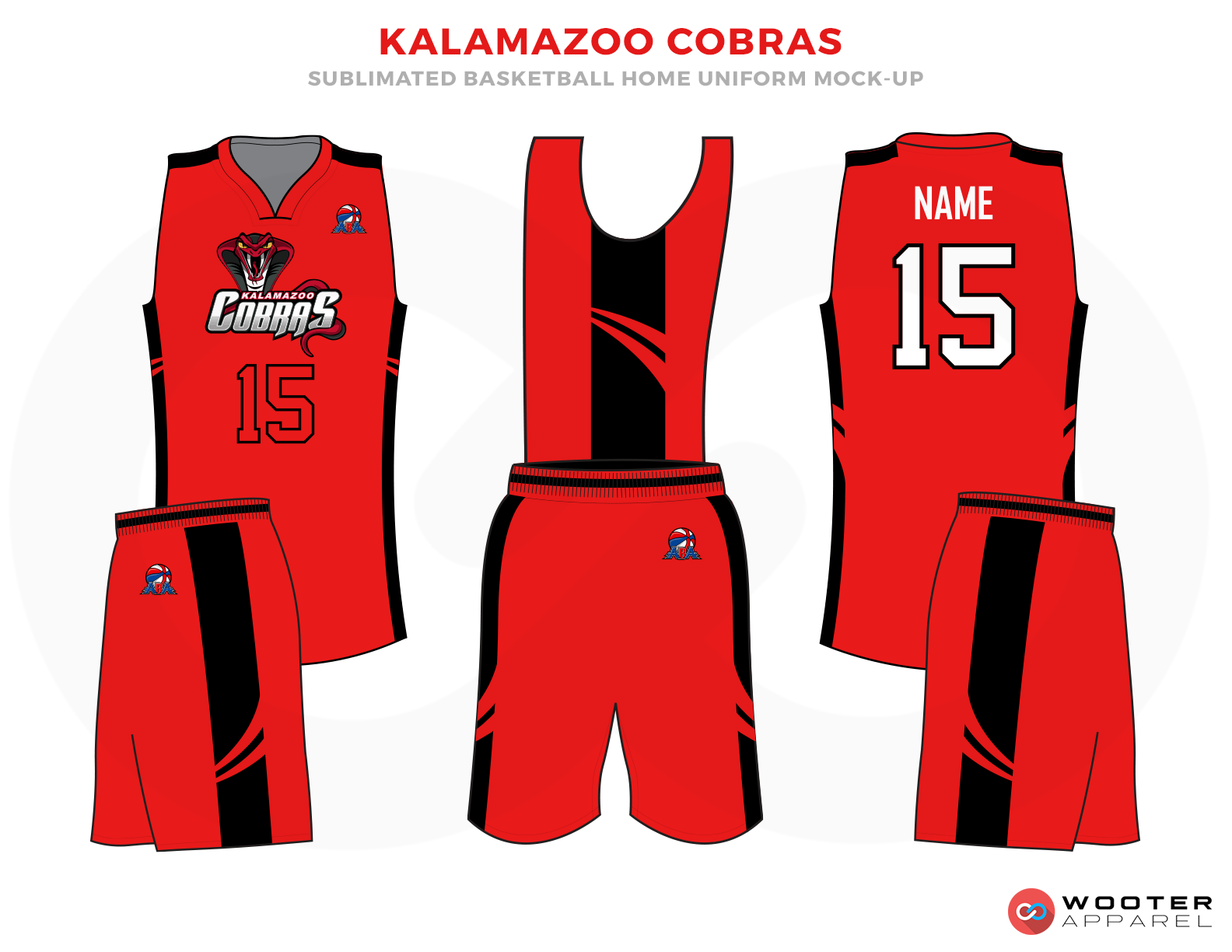 KALAMAZOO COBRAS Red Black and White Basketball Uniforms, Jersey and Shorts