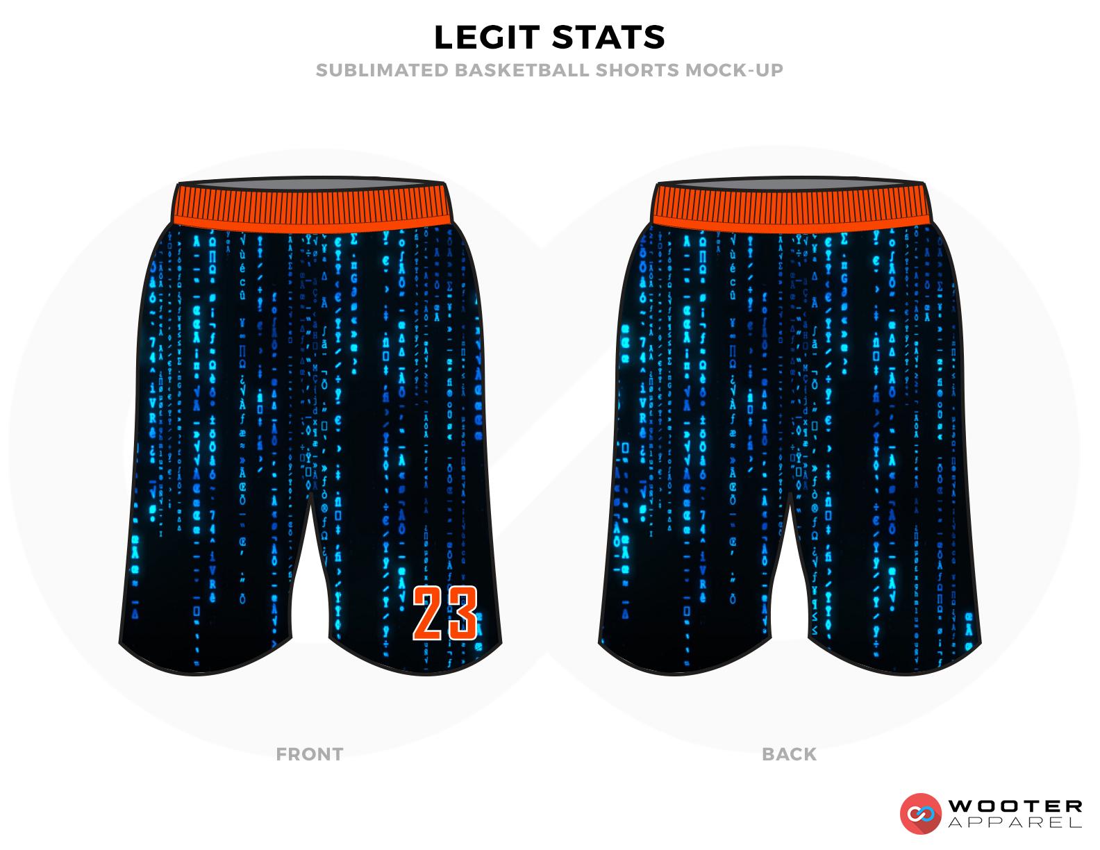 LEGIT STATS Black Blue and Orange Basketball Uniforms, Shorts