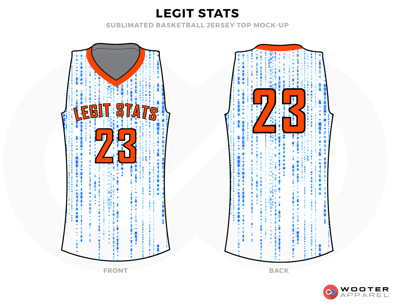LEGIT STATS White Blue and Orange Basketball Uniforms, Jersey