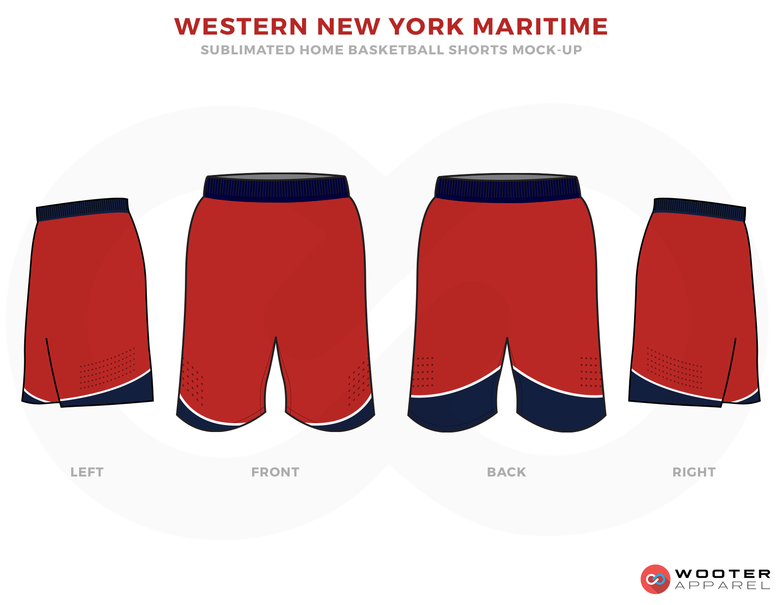 WESTERN NEW YORK MARITIME Red Blue and White Basketball Uniforms, Shorts
