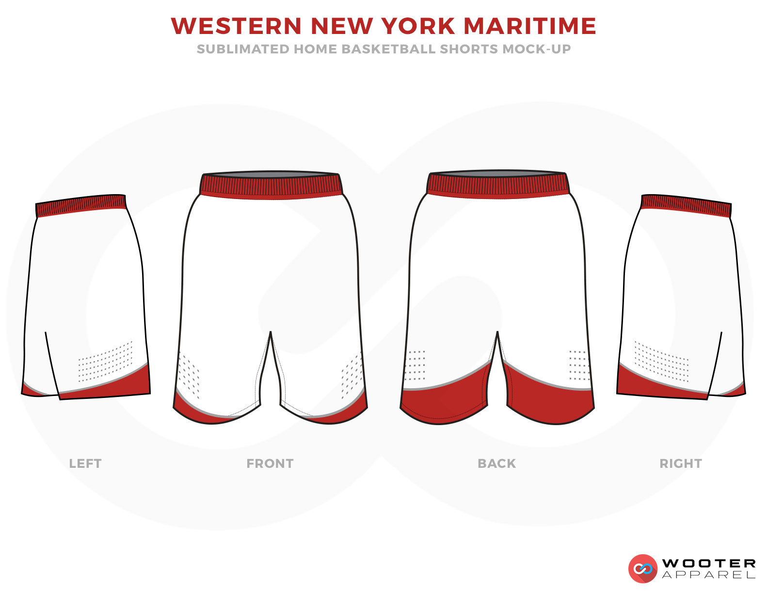 WESTERN NEW YORK MARITIME White and Red Basketball Uniforms, Shorts