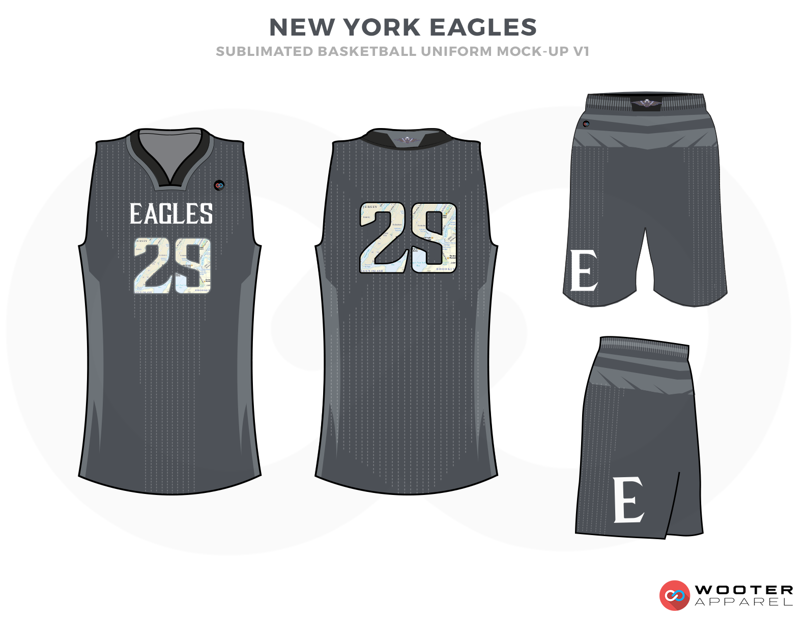 NEW YORK EAGLES Grey White and Black Basketball Uniforms, Jersey and Shorts