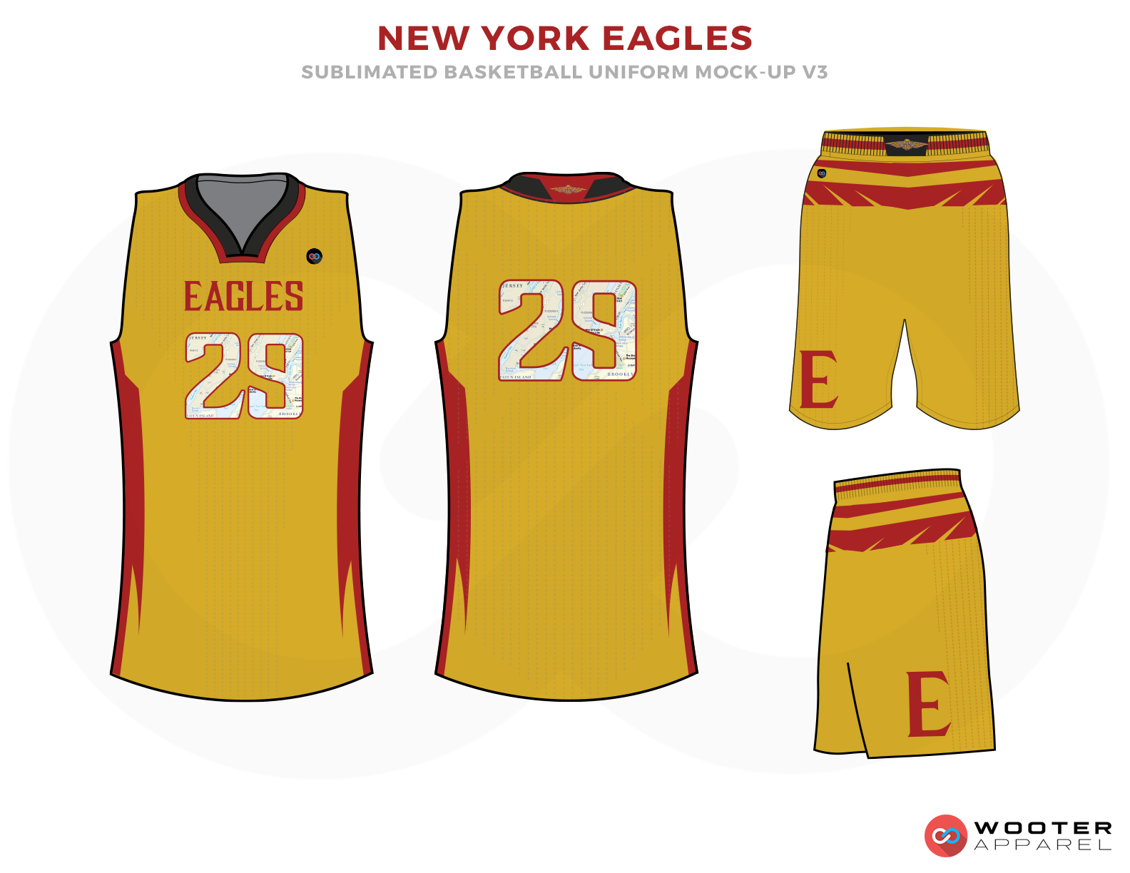 NEW YORK EAGLES Yellow Red White and Black Basketball Uniforms, Jersey and Shorts