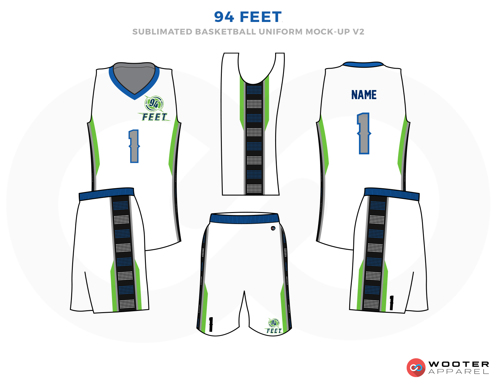 94 FEET White Blue Green and Grey Basketball Uniforms, Jersey and Shorts