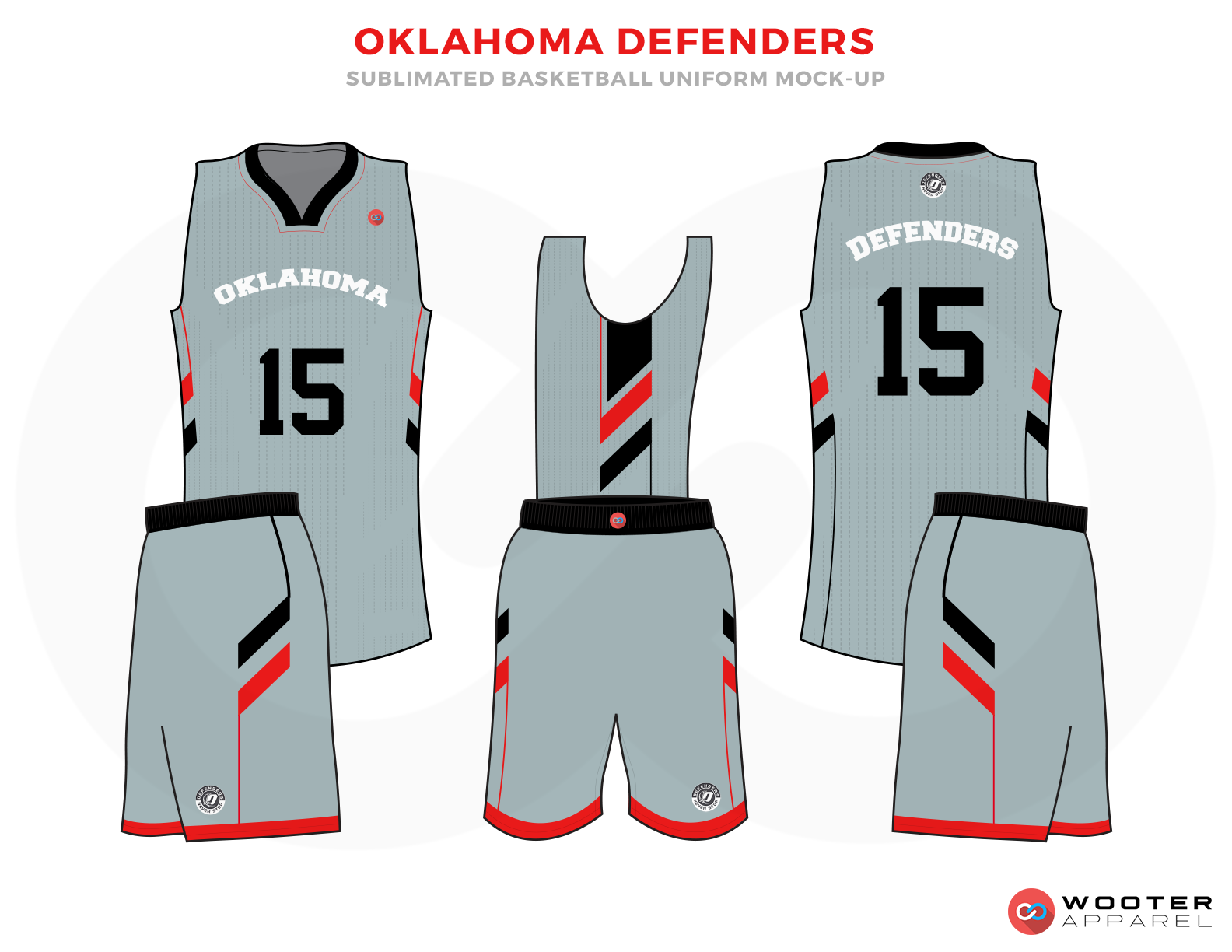 OKLAHOMA DEFENDERS Light Blue Red White and Black Basketball Uniforms, Jersey and Shorts