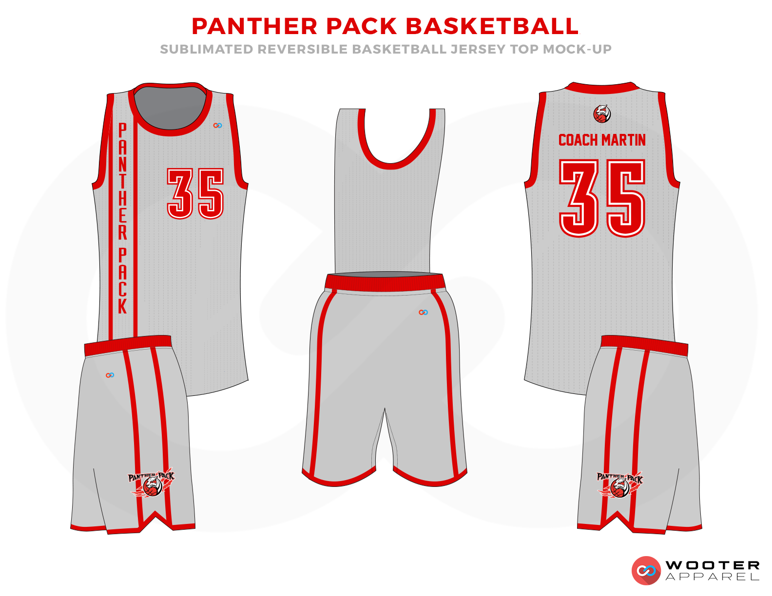 PANTHER PACK BASKETBALL Grey and Red Basketball Uniforms, Jersey and Shorts