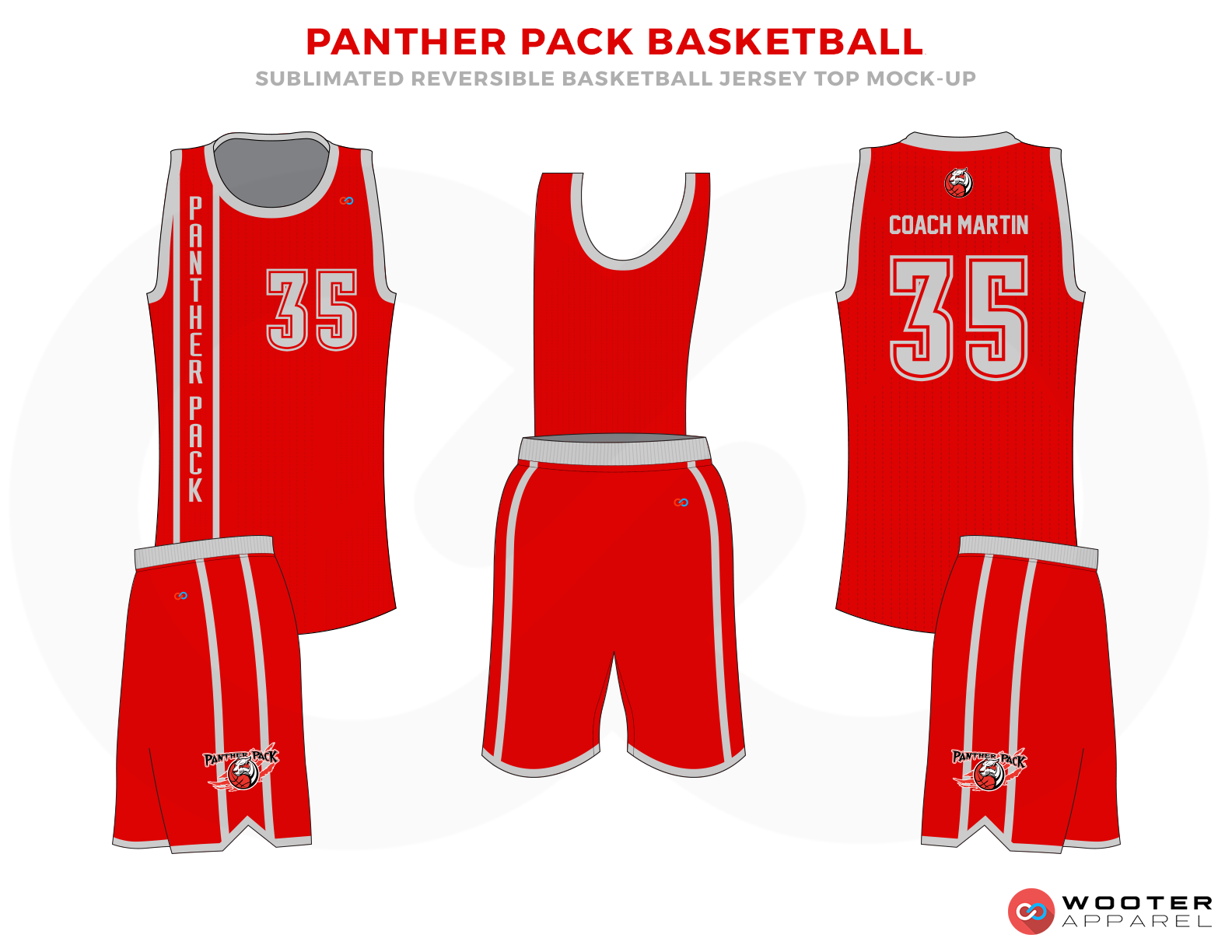 PANTHER PACK BASKETBALL Red and Grey Basketball Uniforms, Jersey and Shorts