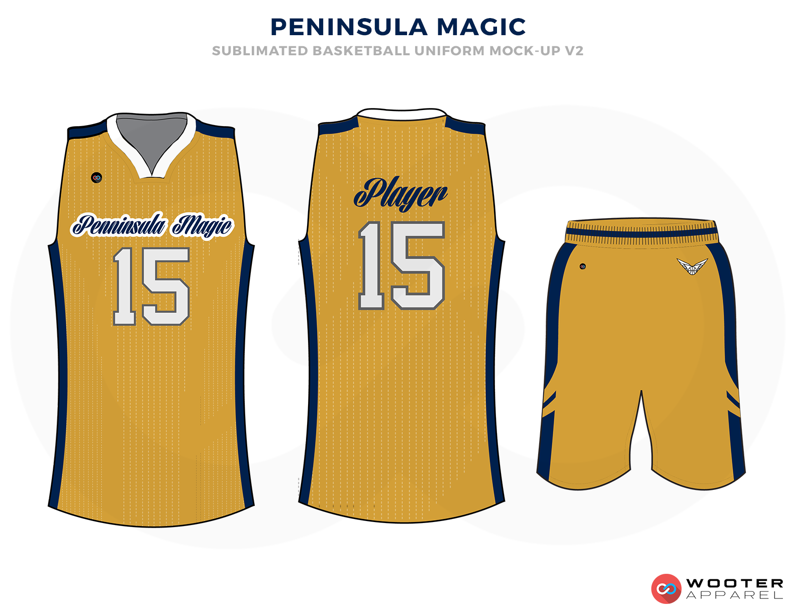 PENINSULE MAGIK Golden Blue and White Basketball Uniforms, Jersey and Shorts