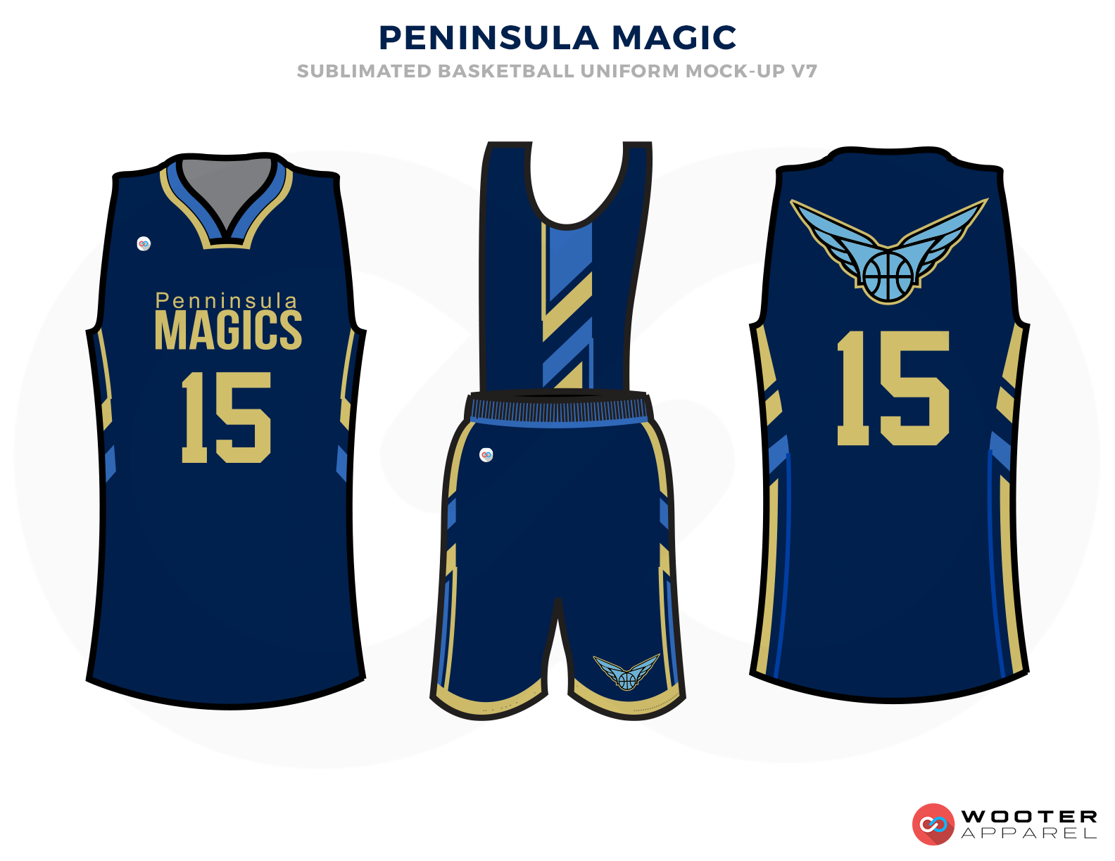 PENINSULE MAGIC Blue and Golden Basketball Uniforms, Jersey and Shorts