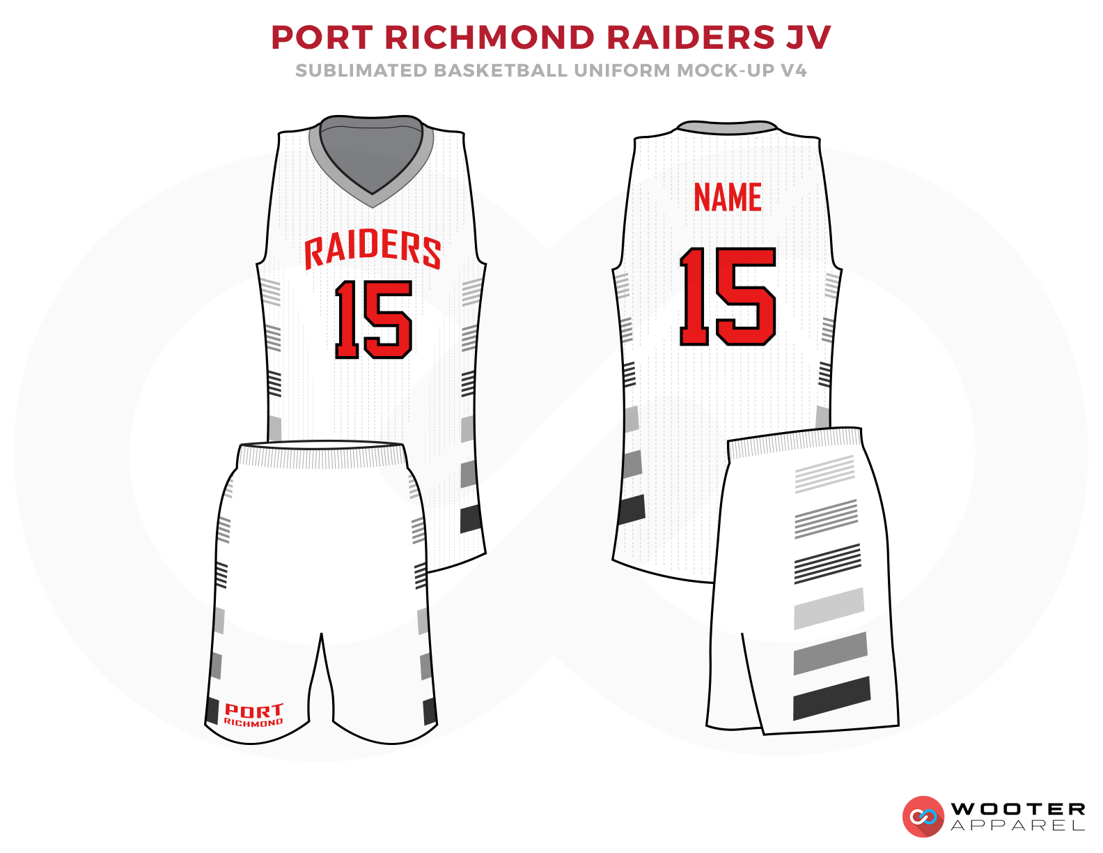 PORT RICHMOND RIDERS JV White Grey and Red Basketball Uniforms, Jersey and Shorts
