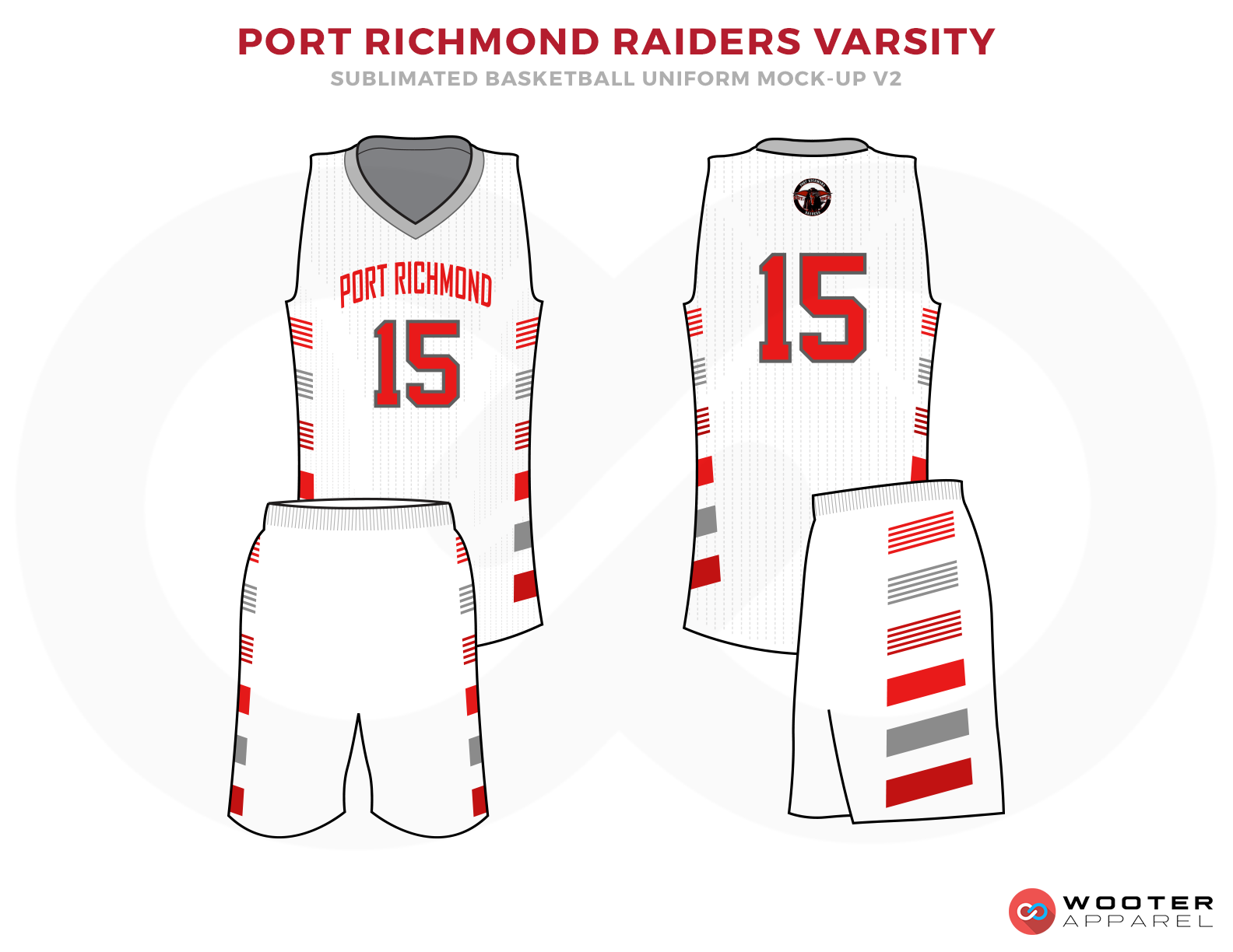 PORT RICHMOND RAIDERS VERSITY White Grey and Red Basketball Uniforms, Jersey and Shorts
