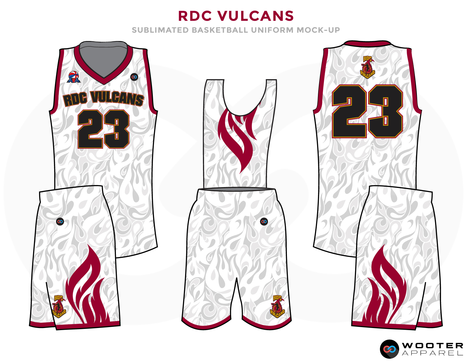 RDC VULCANS White Grey Red and Black Basketball Uniforms, Jersey and Shorts