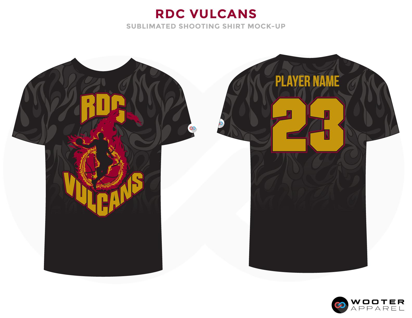 RDC VULCANS Black Red and Golden Basketball Uniforms, Jersey