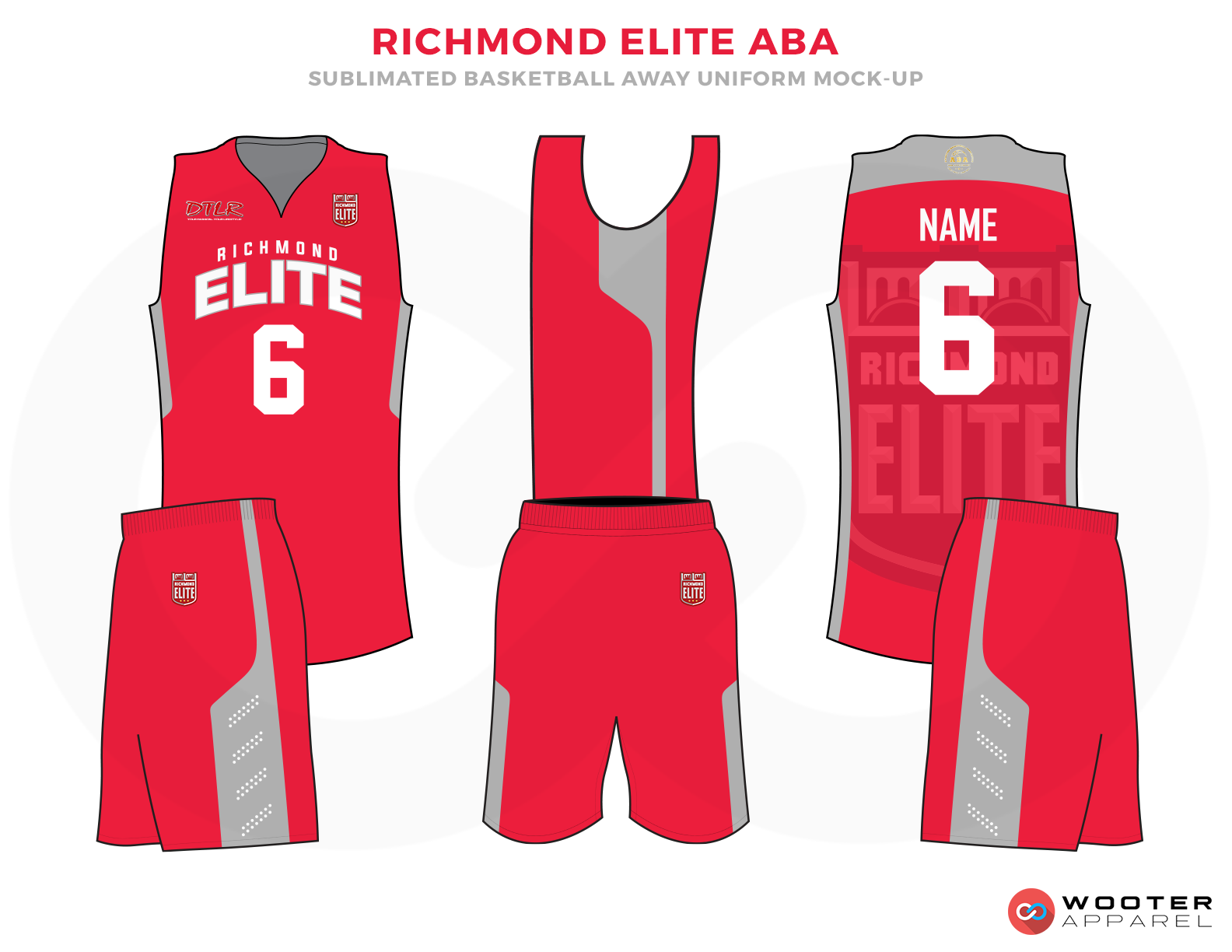 RICHMOND ELITE ABA Red Grey and White Basketball Uniforms, Jersey and Shorts