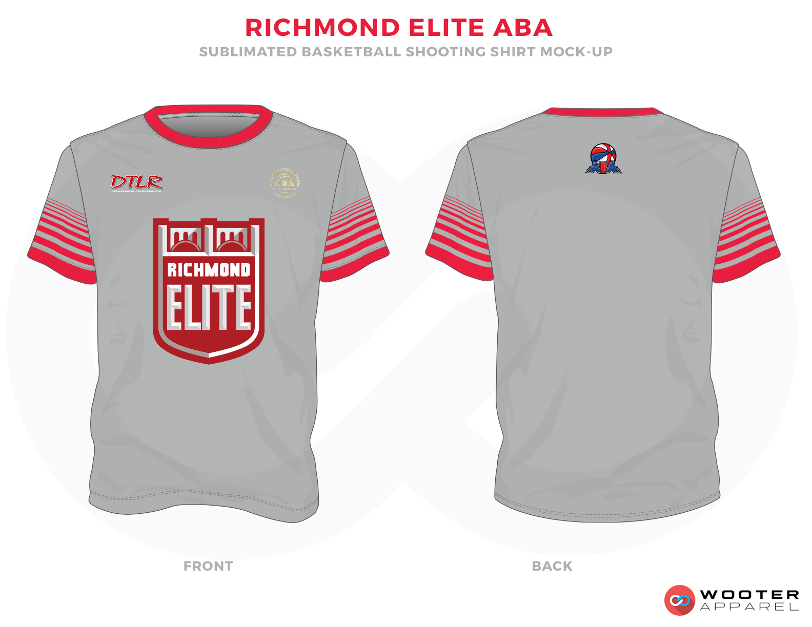 RICHMOND ELITE ABA Grey Red and White Basketball Uniforms, Jersey