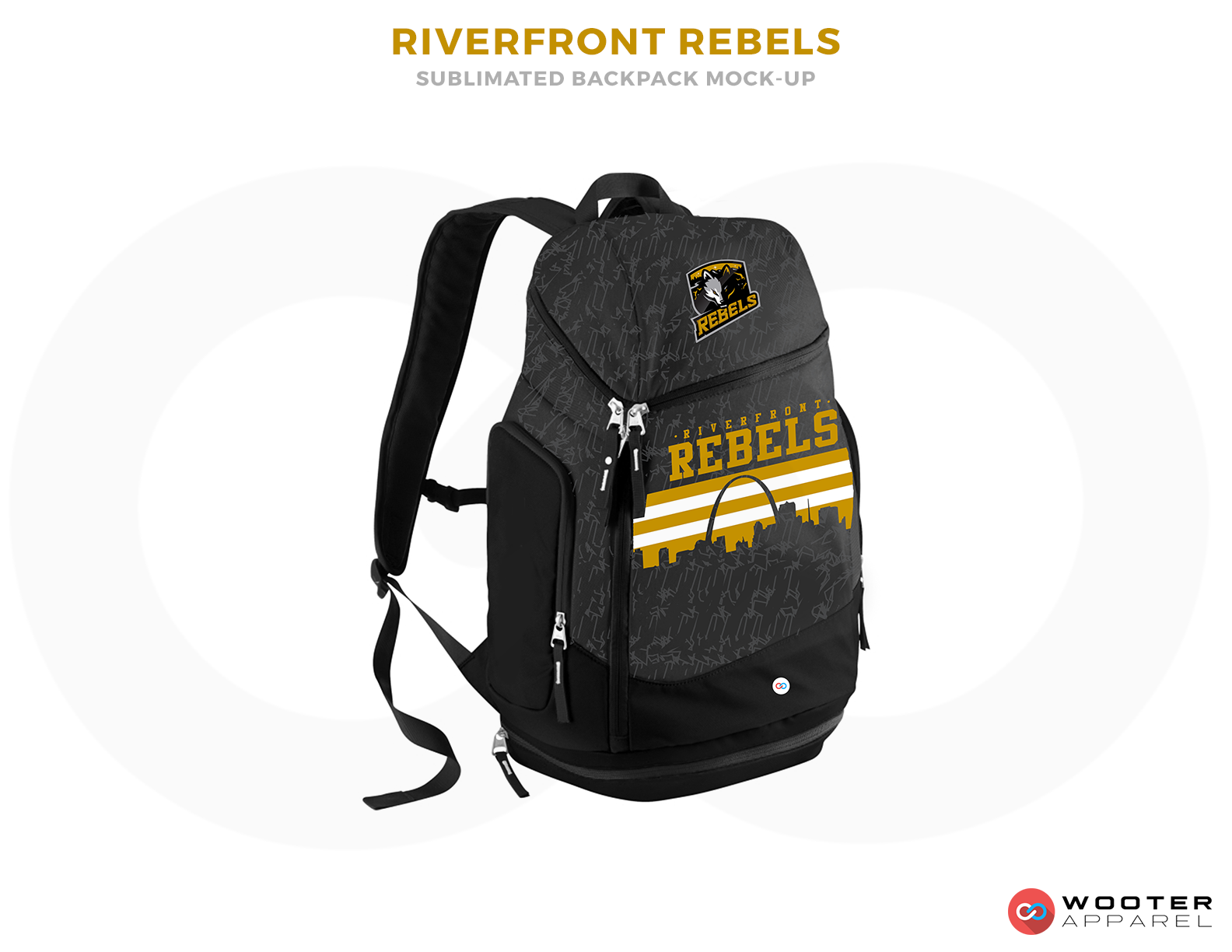 RIVERFRONT REBELS Black White and Yellow Basketball Bags
