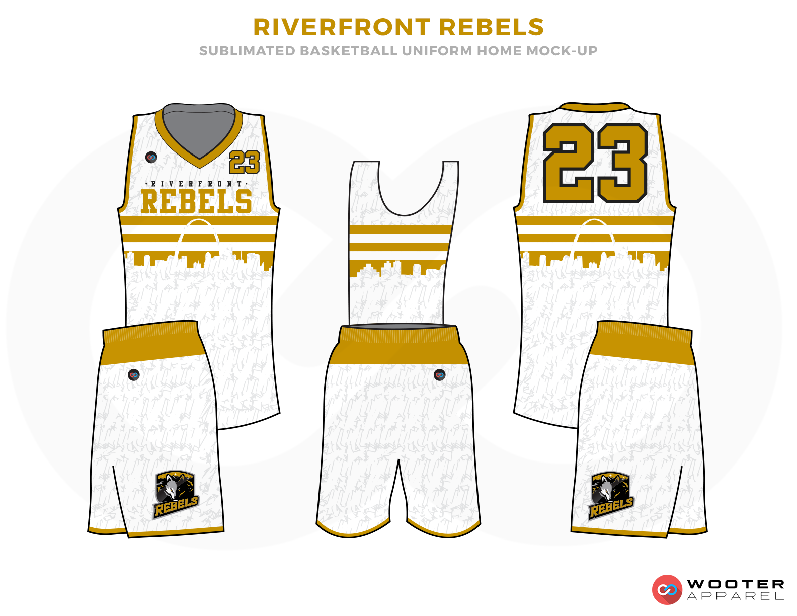 RIVERFRONT REBELS White Grey and Golden Basketball Uniforms, Jersey and Shorts