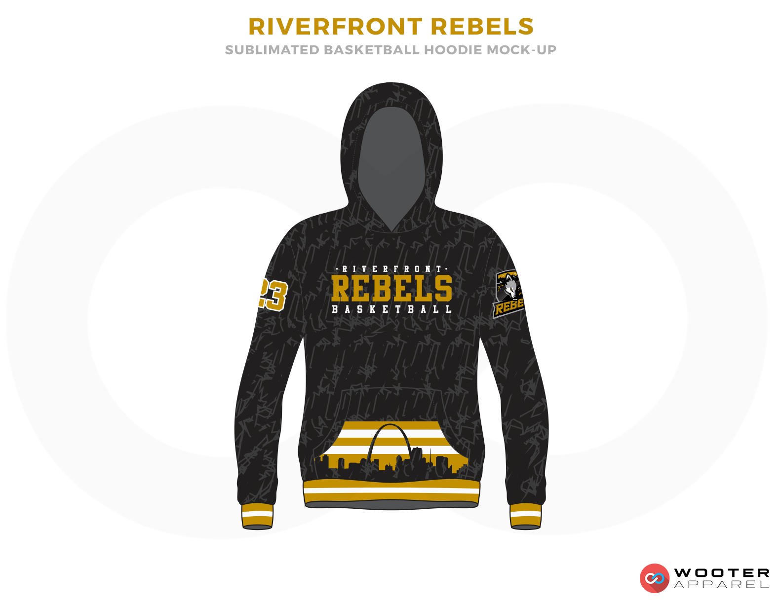 RIVERFRONT REBELS Black White and Yellow Basketball Uniforms, Hoodies