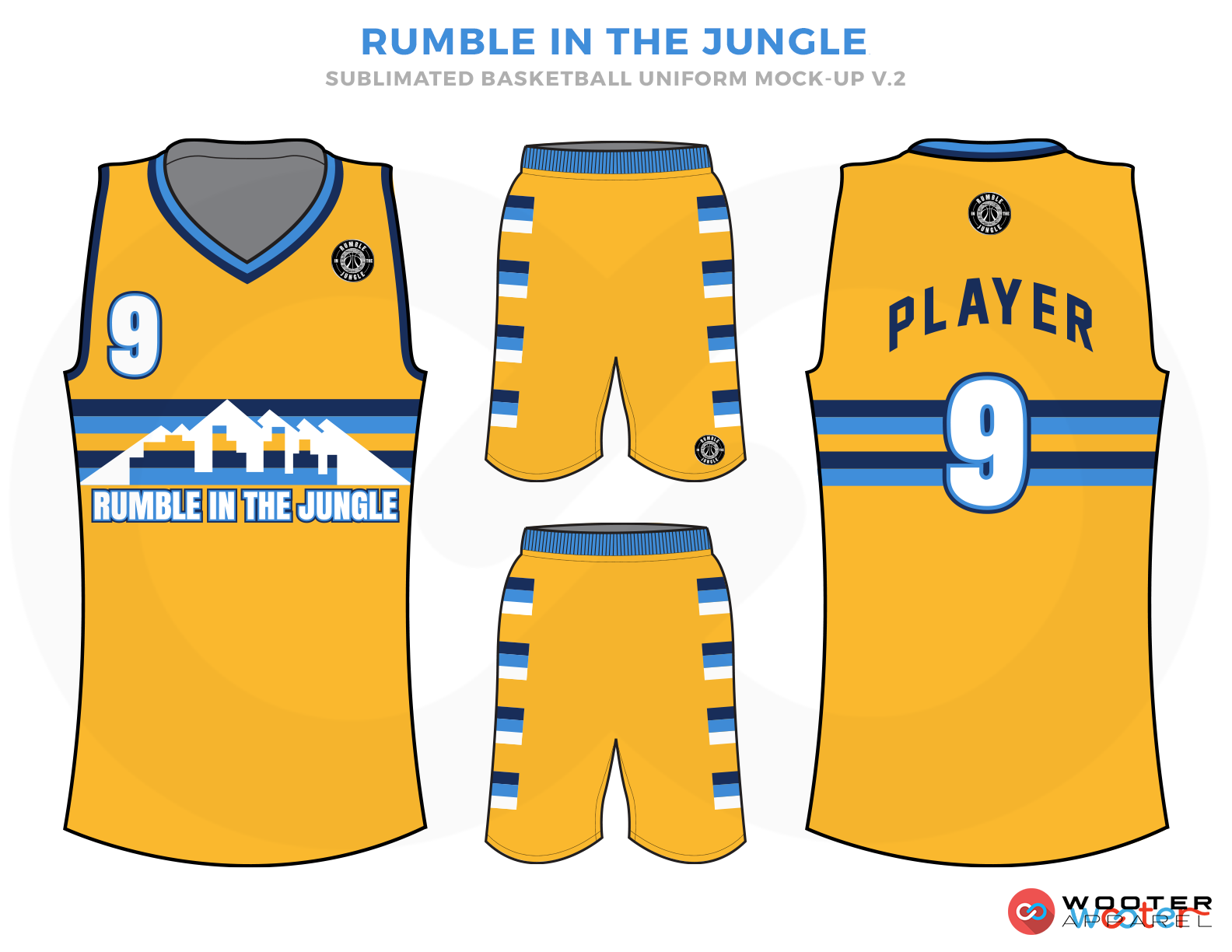RUMBLE IN THE JUNGLE Golden Blue Black and White Basketball Uniforms, Jersey and Shorts
