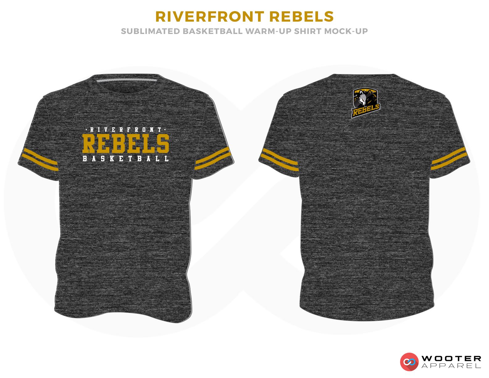 RIVERFRONT REBLES Black White and Yellow Basketball Uniforms, Jersey
