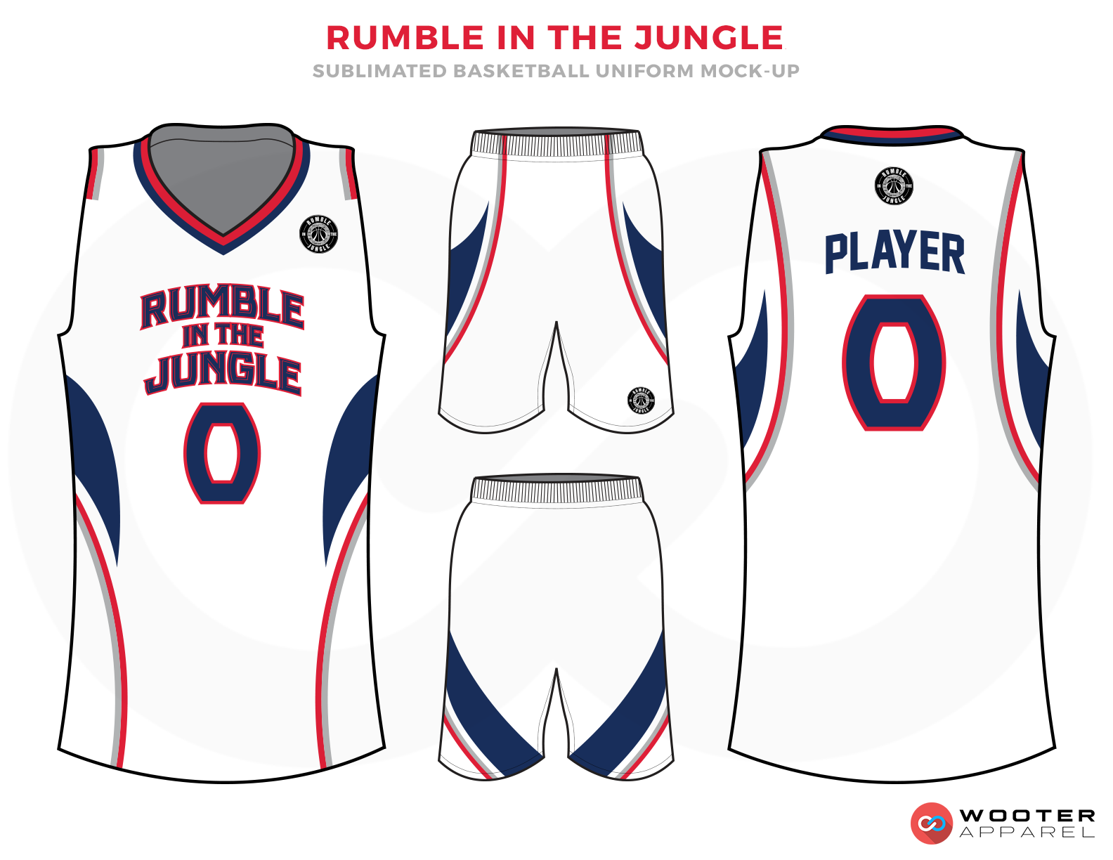 RUMBLE IN THE JUNGLE White Blue and Red Basketball Uniforms, Jersey and Shorts