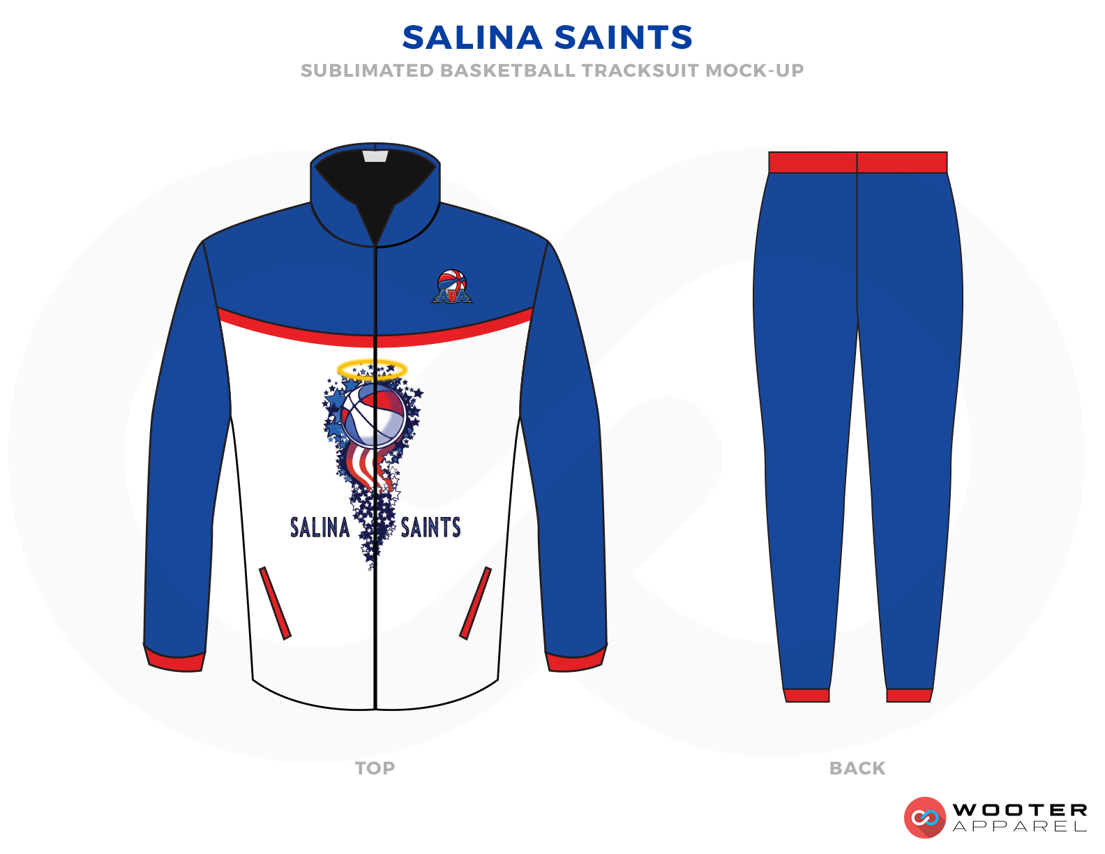 SALINA SAINTS White Blue and Red Basketball Uniforms, Jackets and Trousers