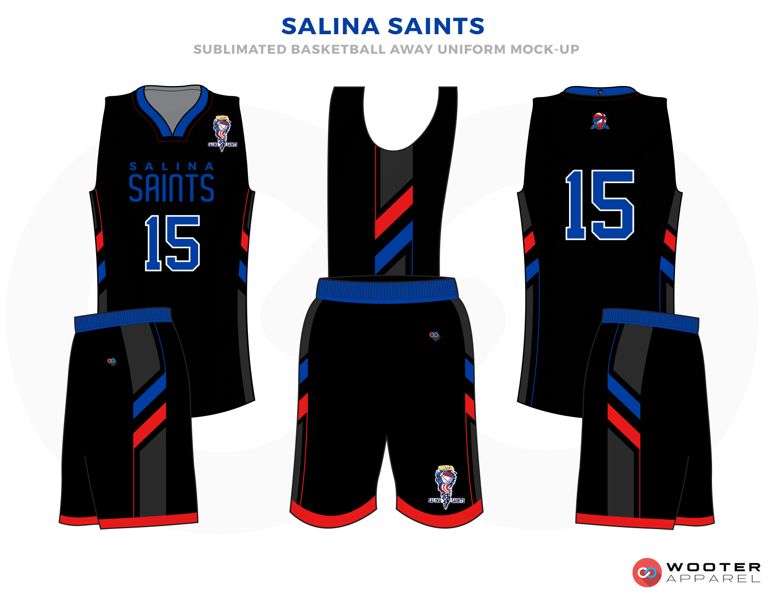 SALINA SAINTS Black Red and White Basketball Uniforms, Jersey and shorts
