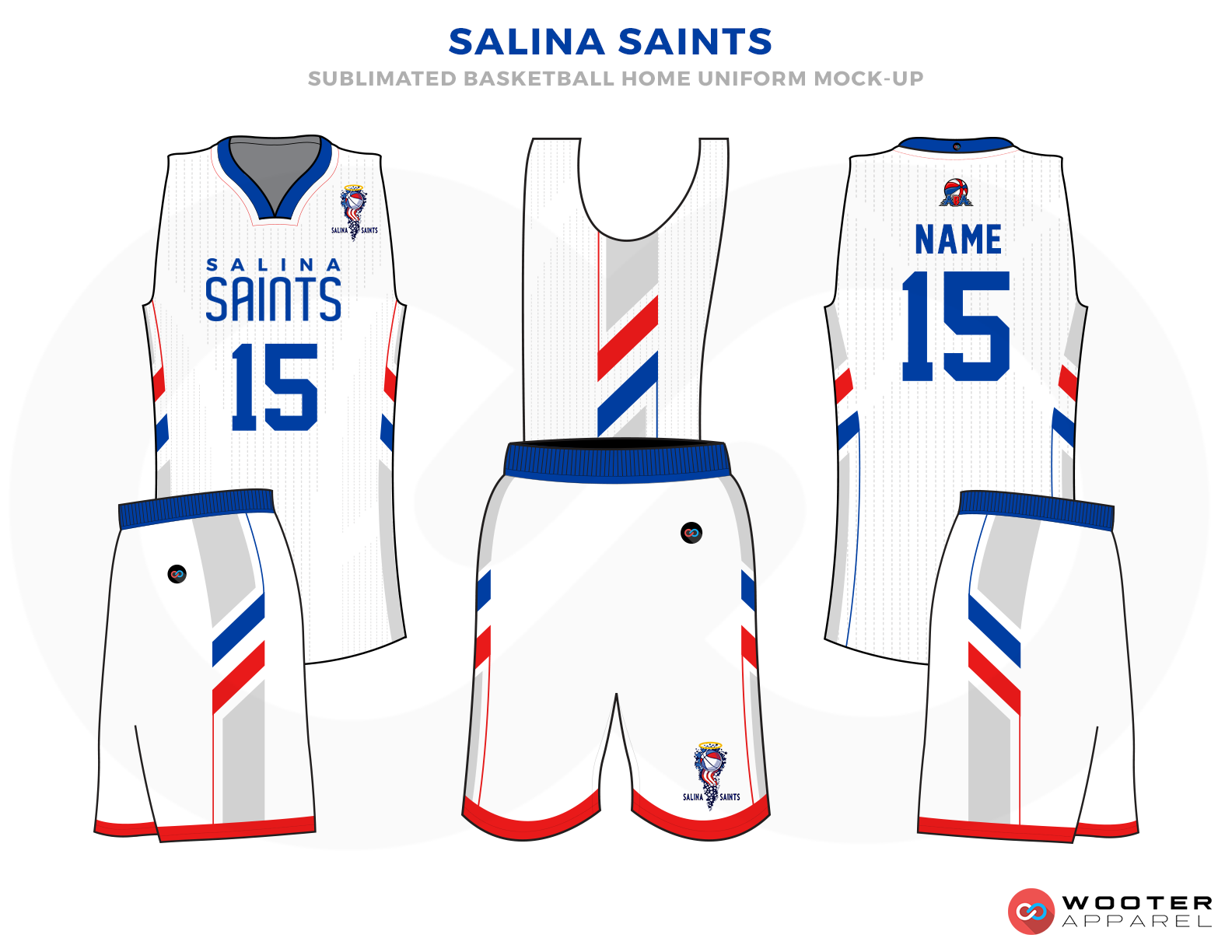 SALINA SAINTS White Blue and Red Basketball Uniforms, Jersey and shorts