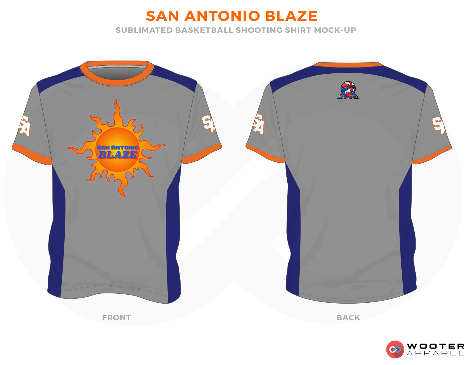 SAN ANTONIO BLAZE Grey Blue White and Oringe Basketball Uniforms,