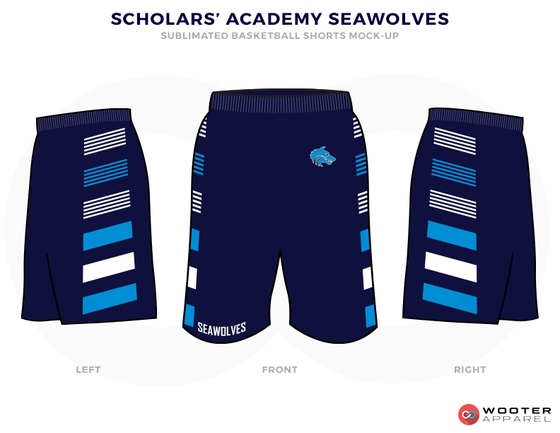 SCHOLARS ACADEMY SEAWOLVES Black Blue and White Basketball Uniforms, shorts