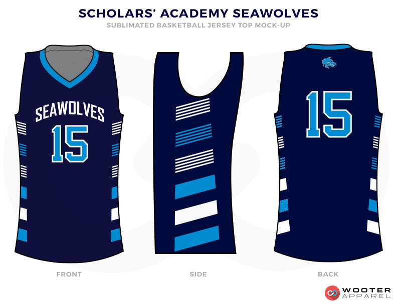 SCHOLARS ACADEMY SEAWOLVER Black White and Blue Basketball Uniforms, Jersey