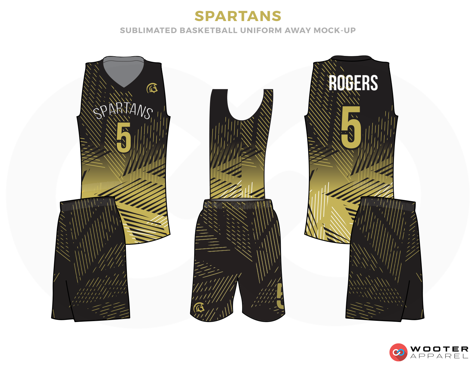 SPARTANS Golden  Black and White Basketball Uniforms, Jersey and Shorts