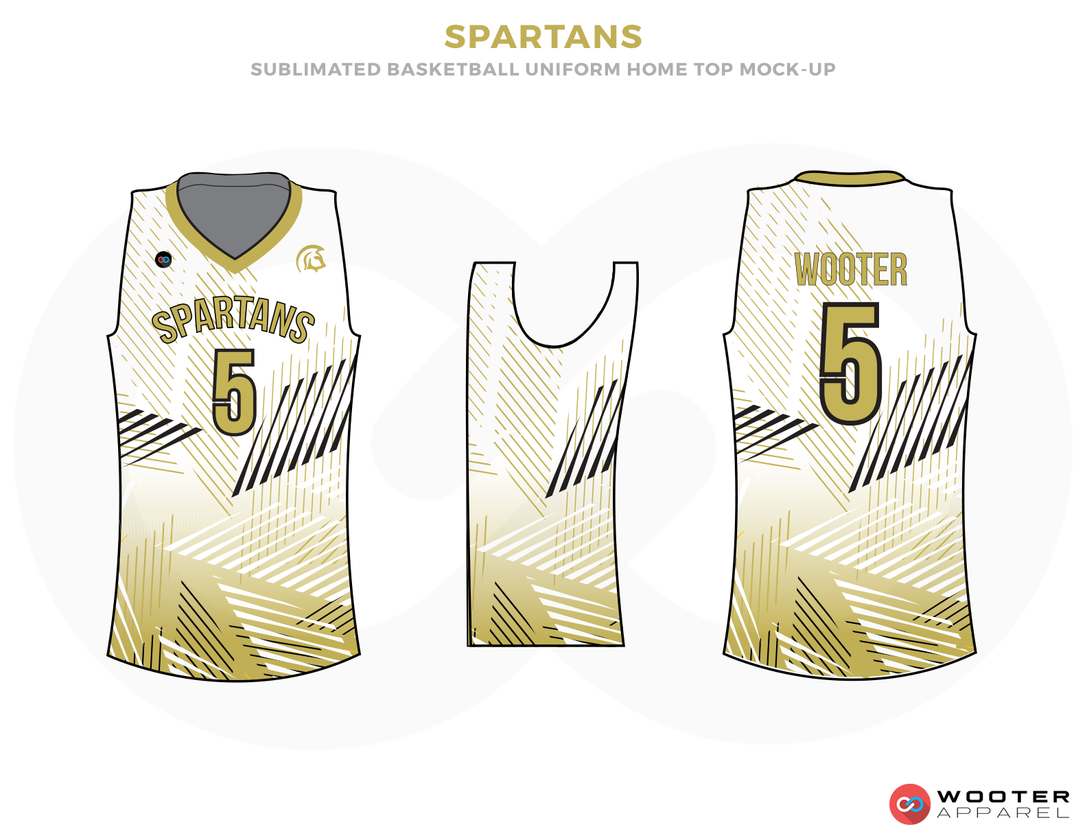 SPARTANS White Golden and Black Basketball Uniforms, Jersey and Shirts