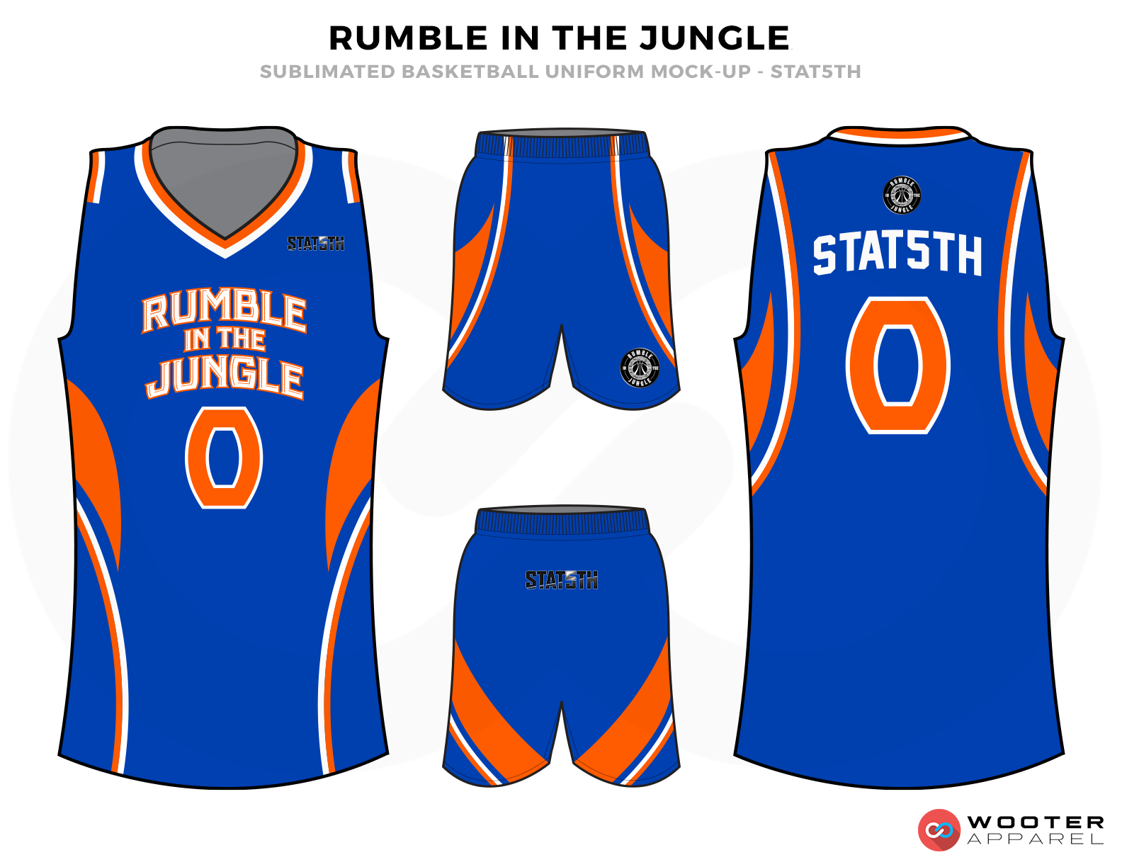 RUMBLE IN THE JUNGLE Blue Orange and White Basketball Uniforms, Jersey and Shorts