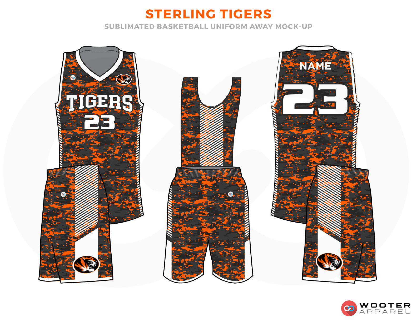 STERLING TIGERS Orange Grey and White Basketball Uniforms, Jersey and Shorts